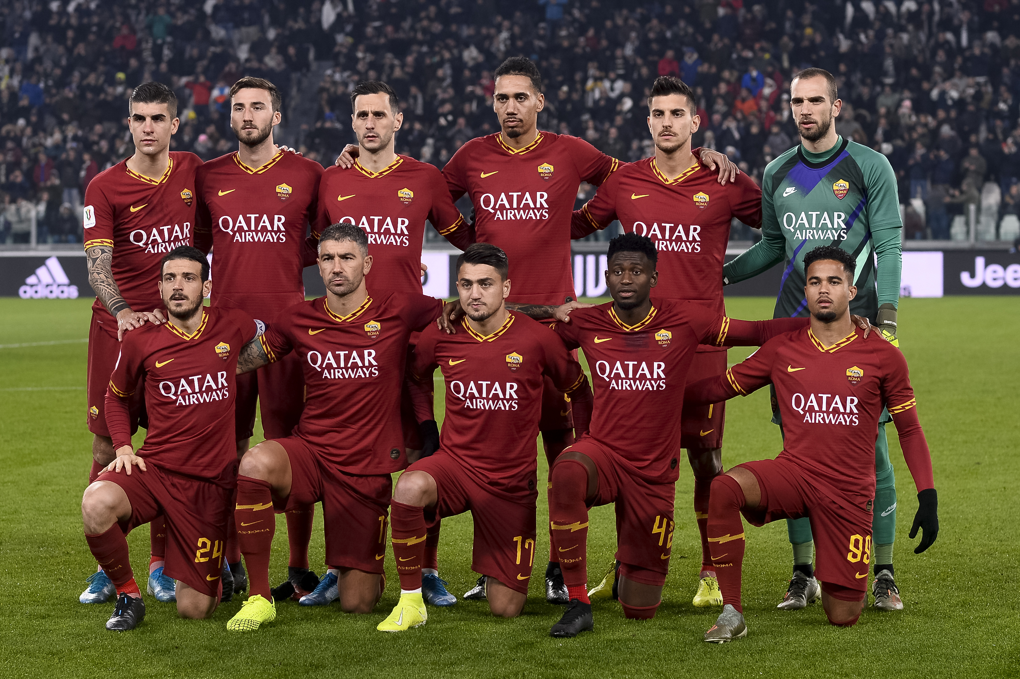 Players of AS Roma pose for a team photo prior to the Coppa...