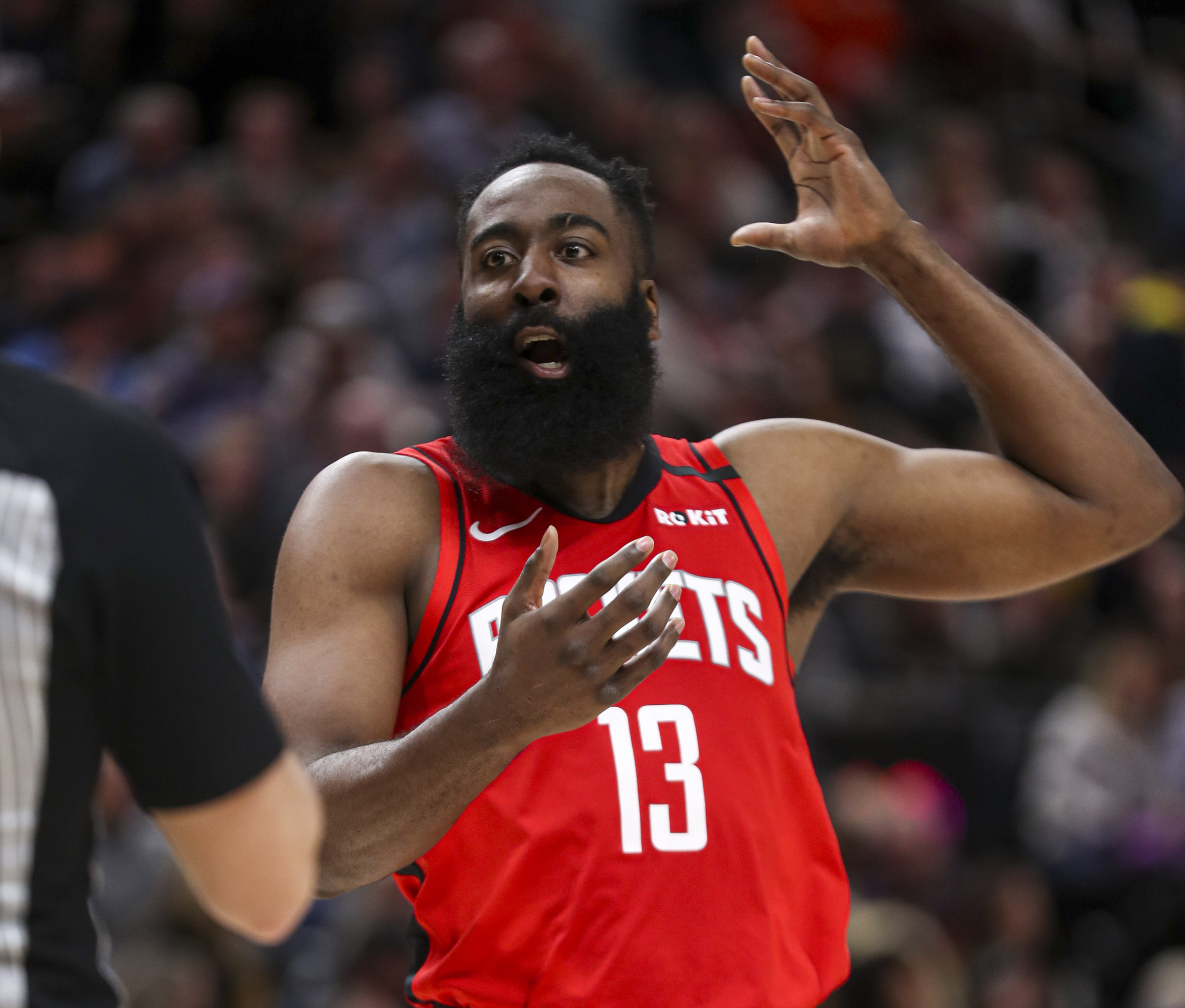 Houston Rockets guard James Harden (13) gestures to the referee that he was fouled during the Houston Rockets at Utah Jazz NBA basketball game at Vivint Arena in Salt Lake City on Saturday, Feb. 22, 2020.