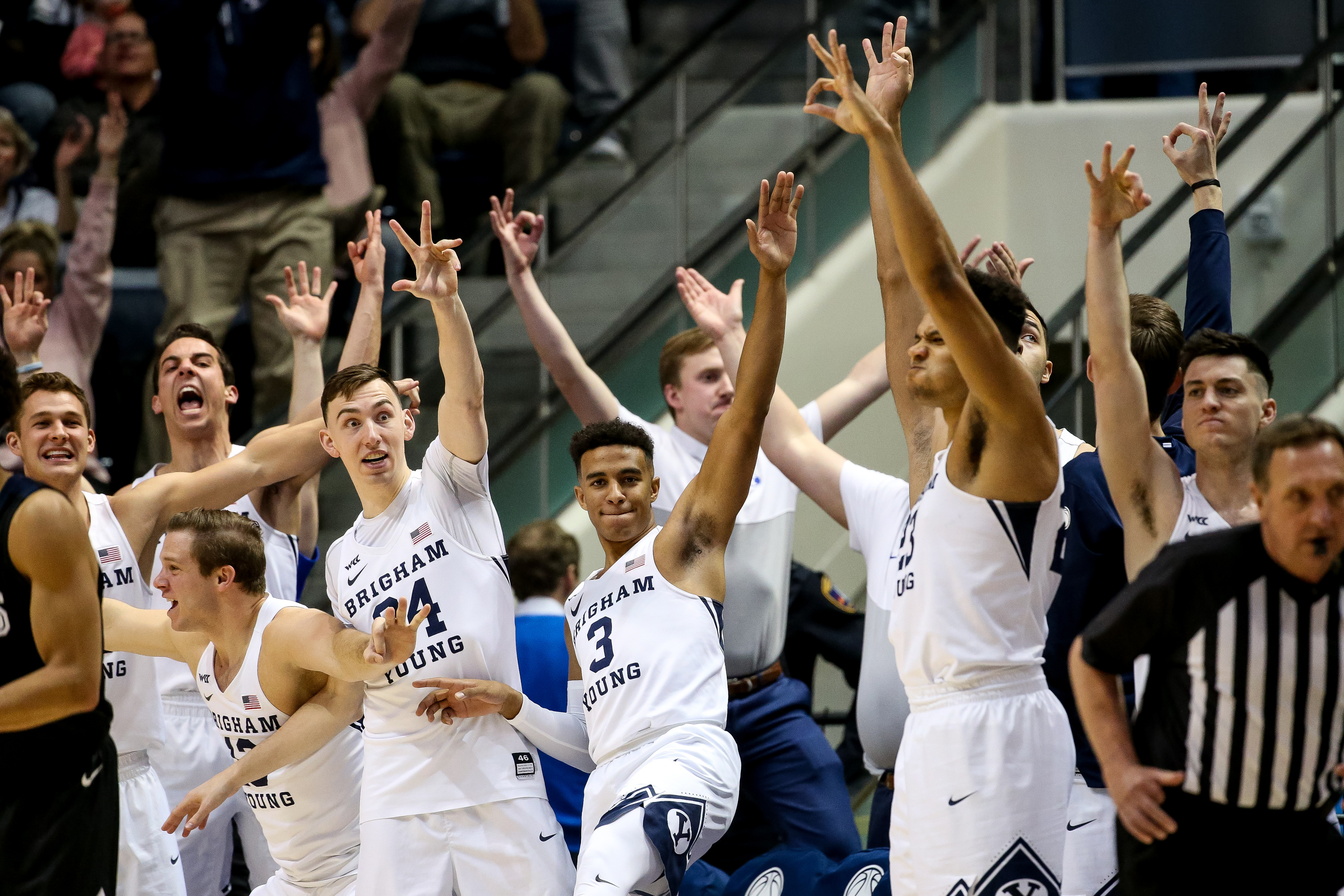 Brigham Young Cougars players celebrate a 3-pointer during the game against the Gonzaga Bulldogs at the Marriott Center in Provo on Saturday, Feb. 22, 2020.