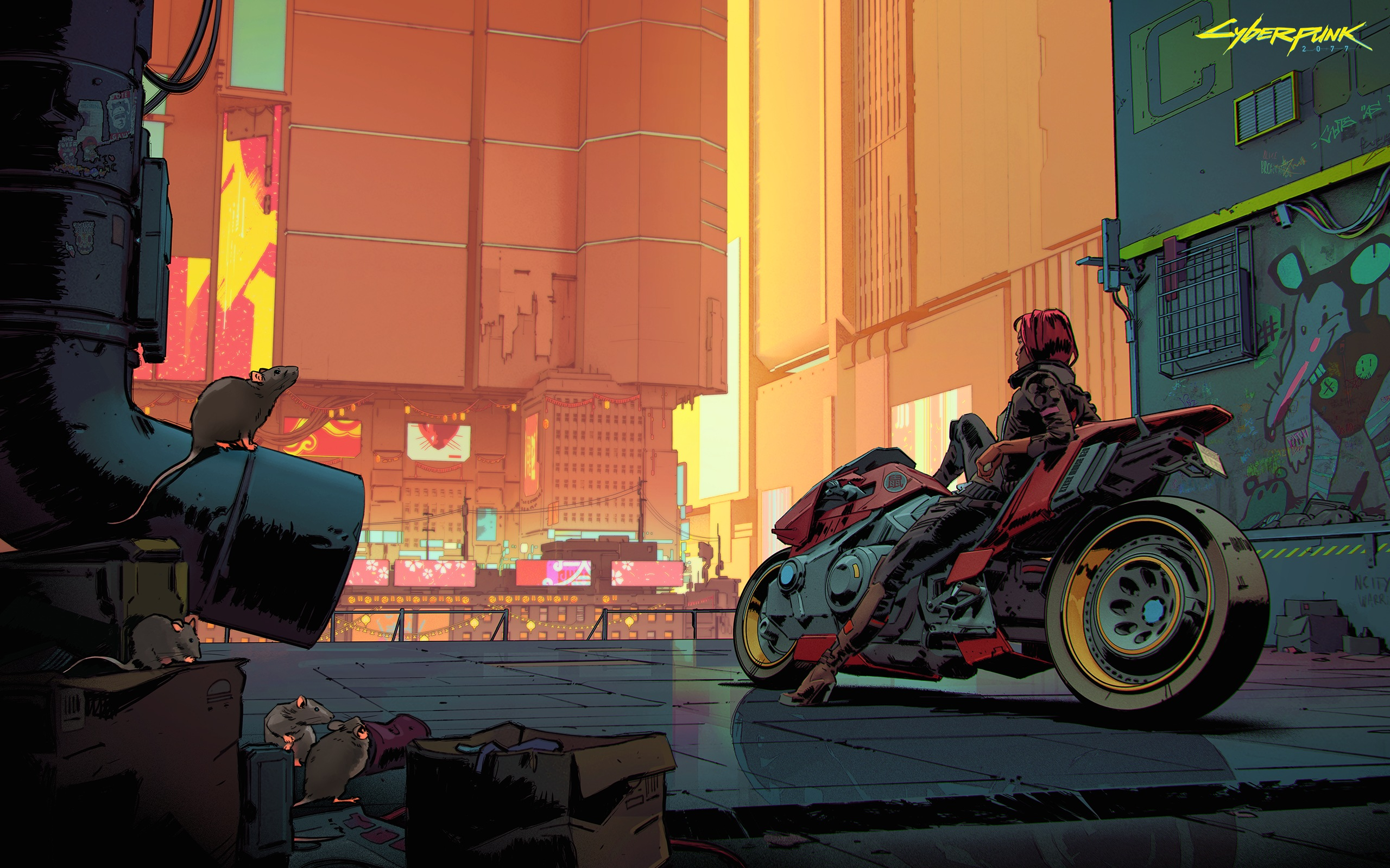 Concept art shows a woman reclining on a bike in Night City. The smog-filled sky is orange, and the shadows look red.