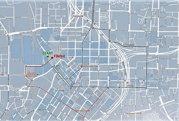 A map shows where runners will travel this Saturday.