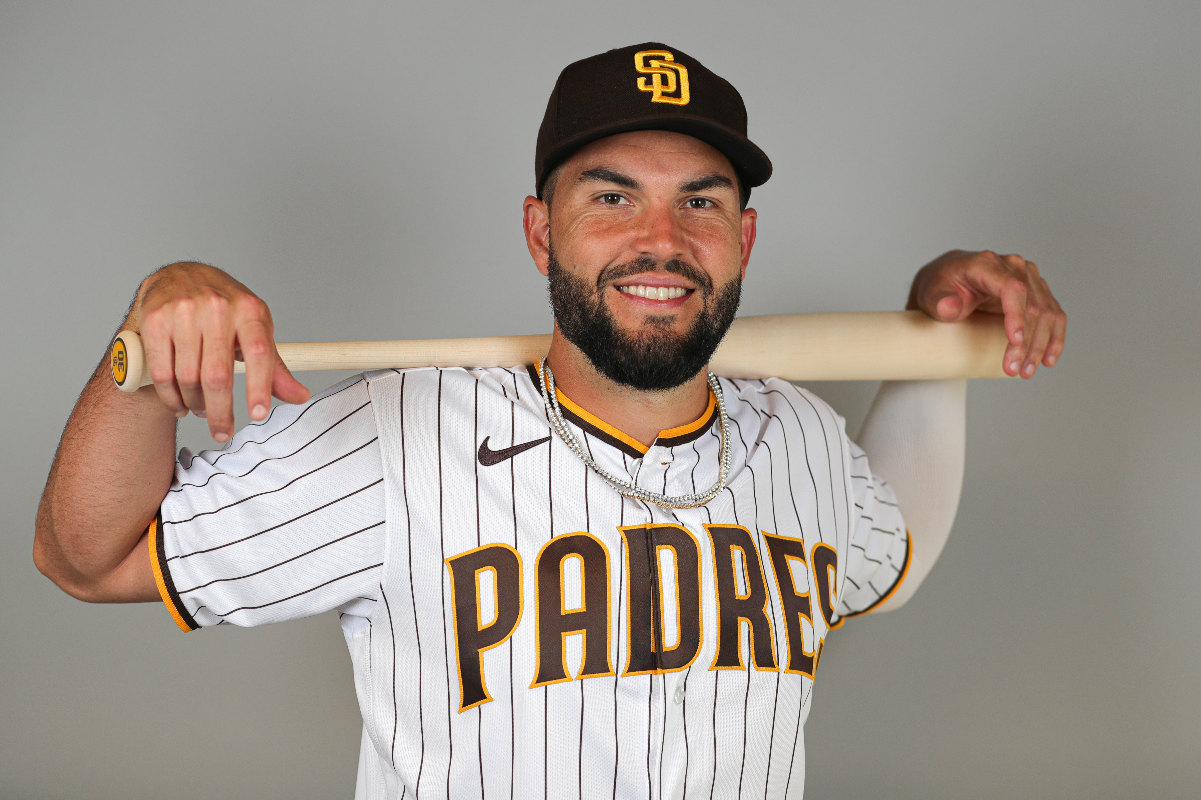 Eric Hosmer of the San Diego Padres poses for a photo during Photo Day at Peoria Sports Complex on February 20, 2020 in Peoria, Arizona.