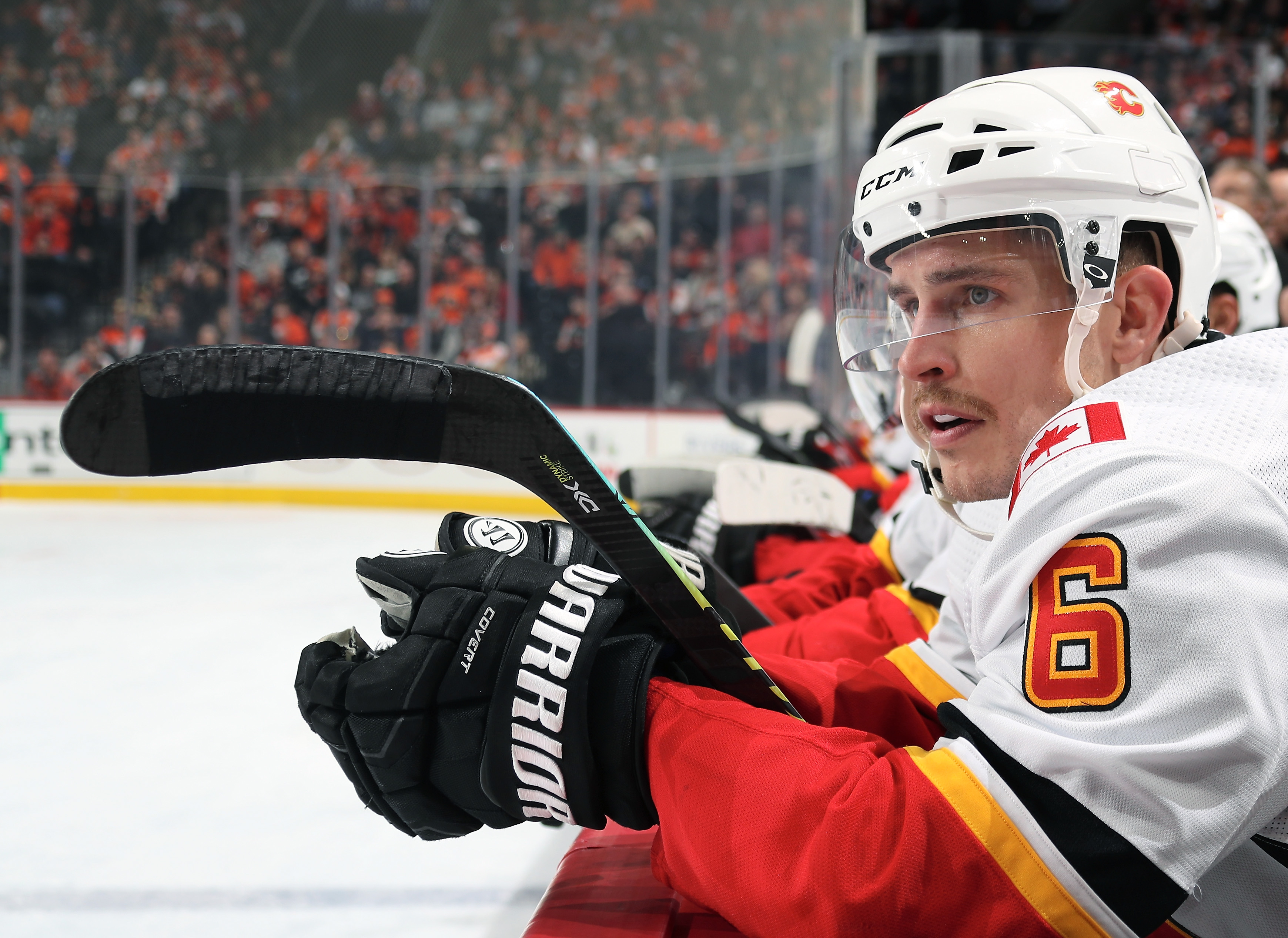 PHILADELPHIA, PA - NOVEMBER 23: Brandon Davidson #6 of the Calgary Flames watches a play develop on the ice against the Philadelphia Flyers on November 23, 2019 at the Wells Fargo Center in Philadelphia, Pennsylvania.