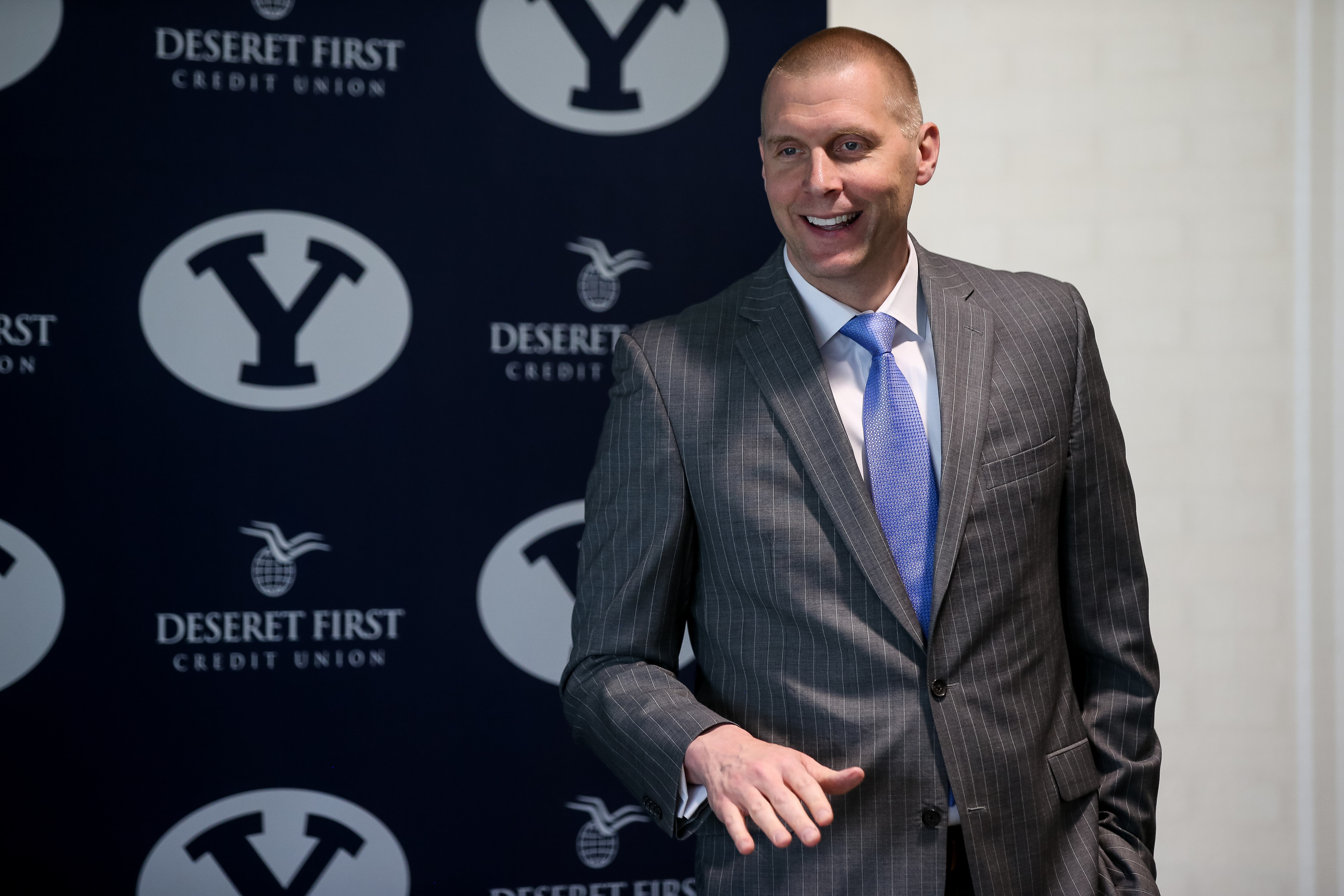 Brigham Young University basketball head coach Mark Pope speaks a press conference convened to introduce his new assistant coaches at the Marriott Center Annex in Provo on Thursday, April 25, 2019.