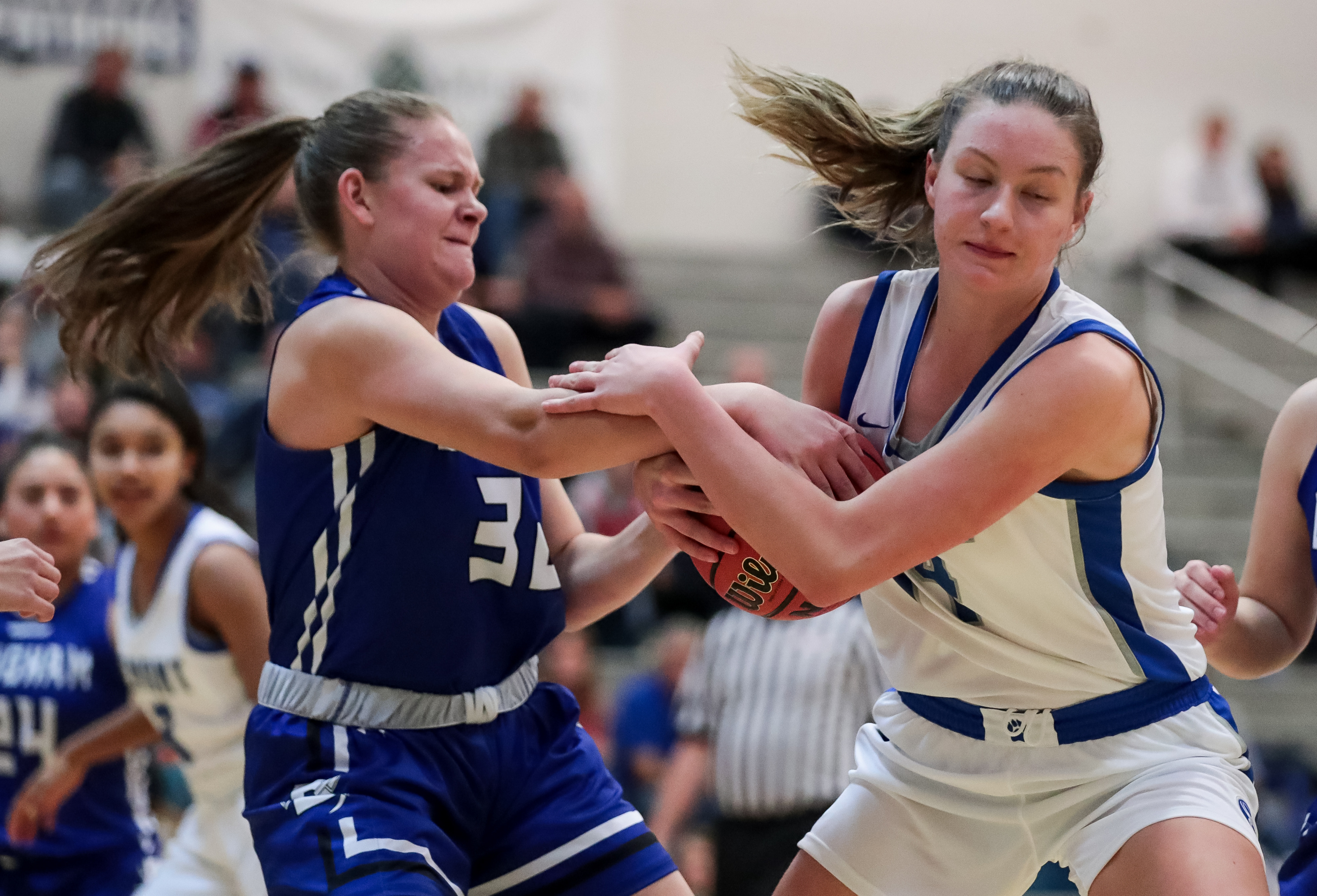 Bingham's Lauren Yeschick and Fremont's Maggie Mendelson compete for control of the ball in a high school girls basketball game at Fremont High School in Plain City on Tuesday, Dec. 3, 2019.