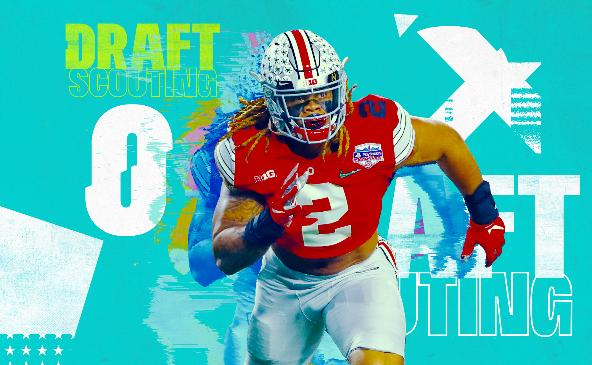 "Artwork of NFL prospect Chase Young out of Ohio State, superimposed on an aqua background with white graphics and the words ""Draft Scouting"" in yellow letters"