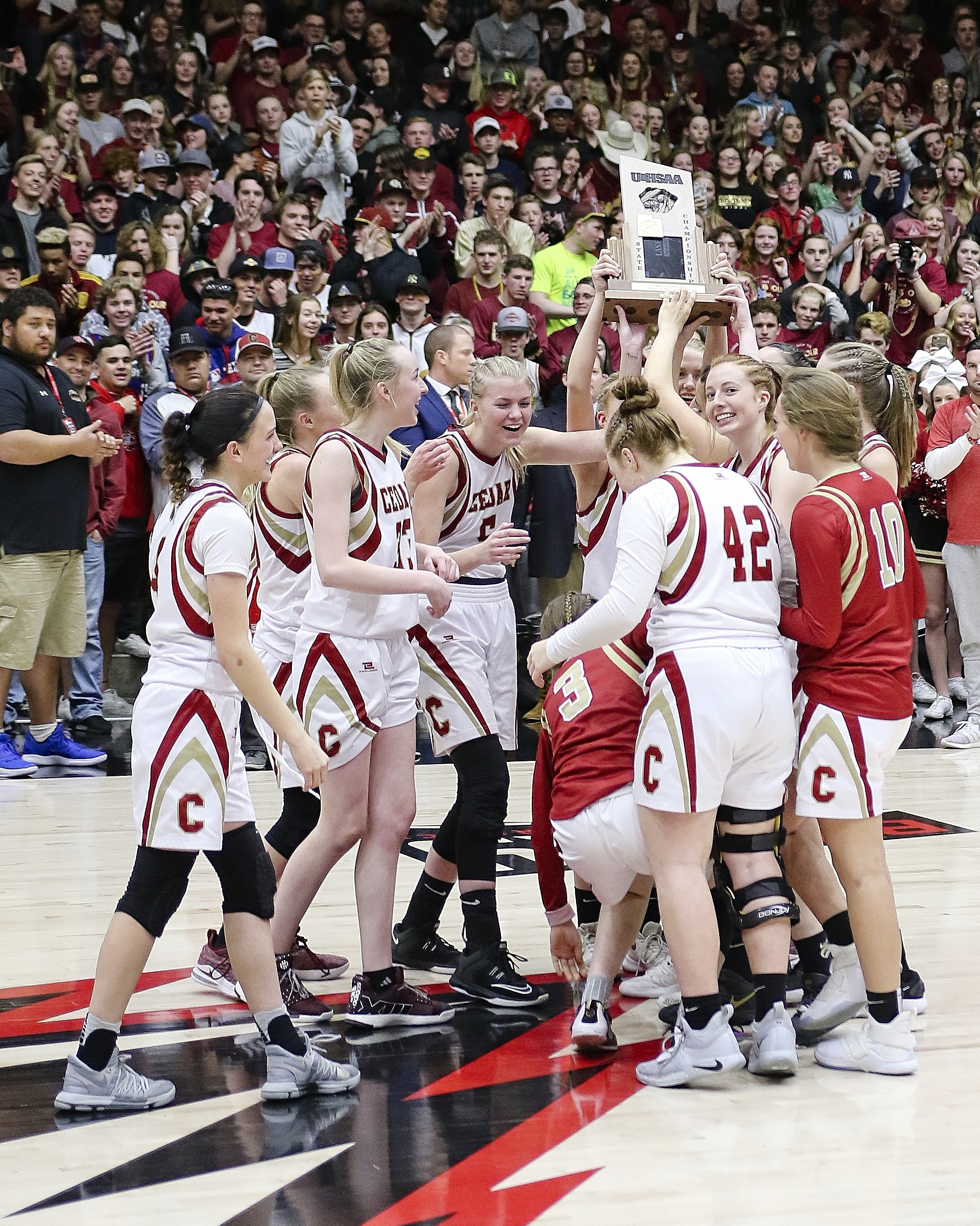 Cedar and Ridgeline compete in the 4A girls basketball state championship at Southern Utah University on Saturday.