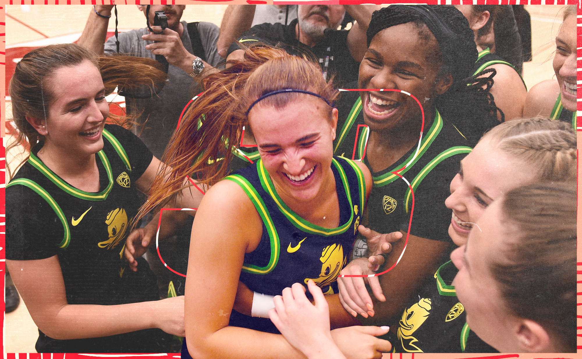 Oregon Ducks guard Sabrina Ionescu smiles, surrounded by her teammates, on the court after a victory over Stanford in which Ionescu made college basketball history.