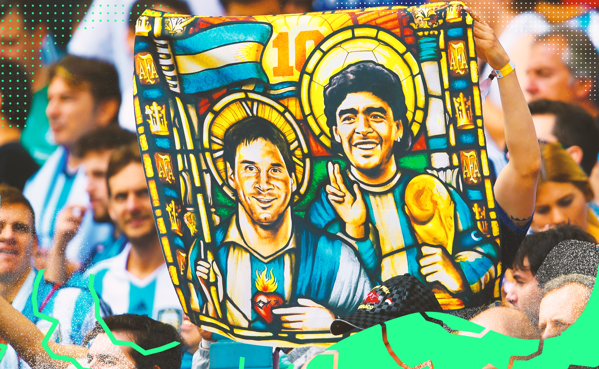 Banner held up by Argentina fans in a crowd depicts Lionel Messi and Diego Maradona painted as saints.