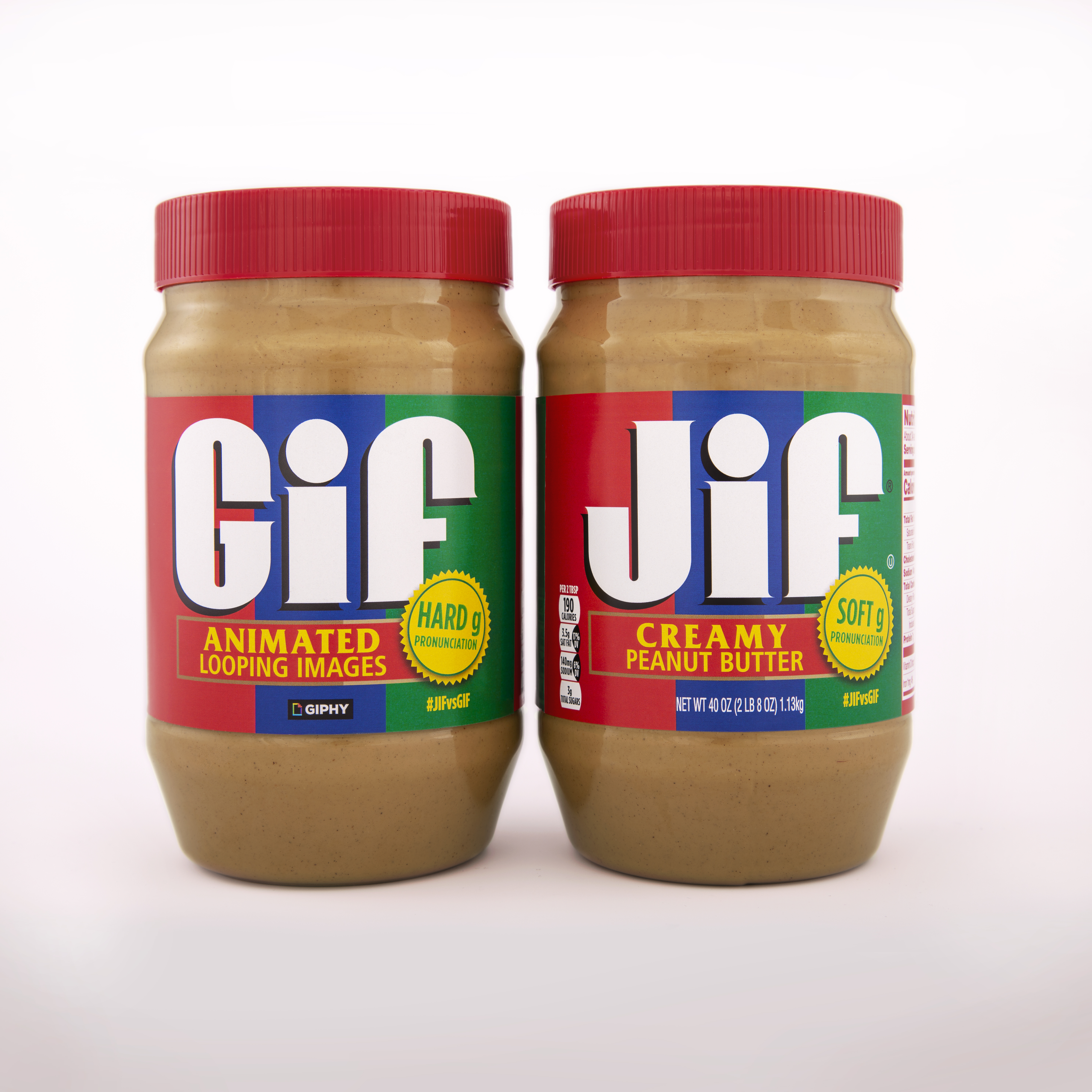 """Jars of peanut butter labeled """"Gif"""" and """"Jif."""""""