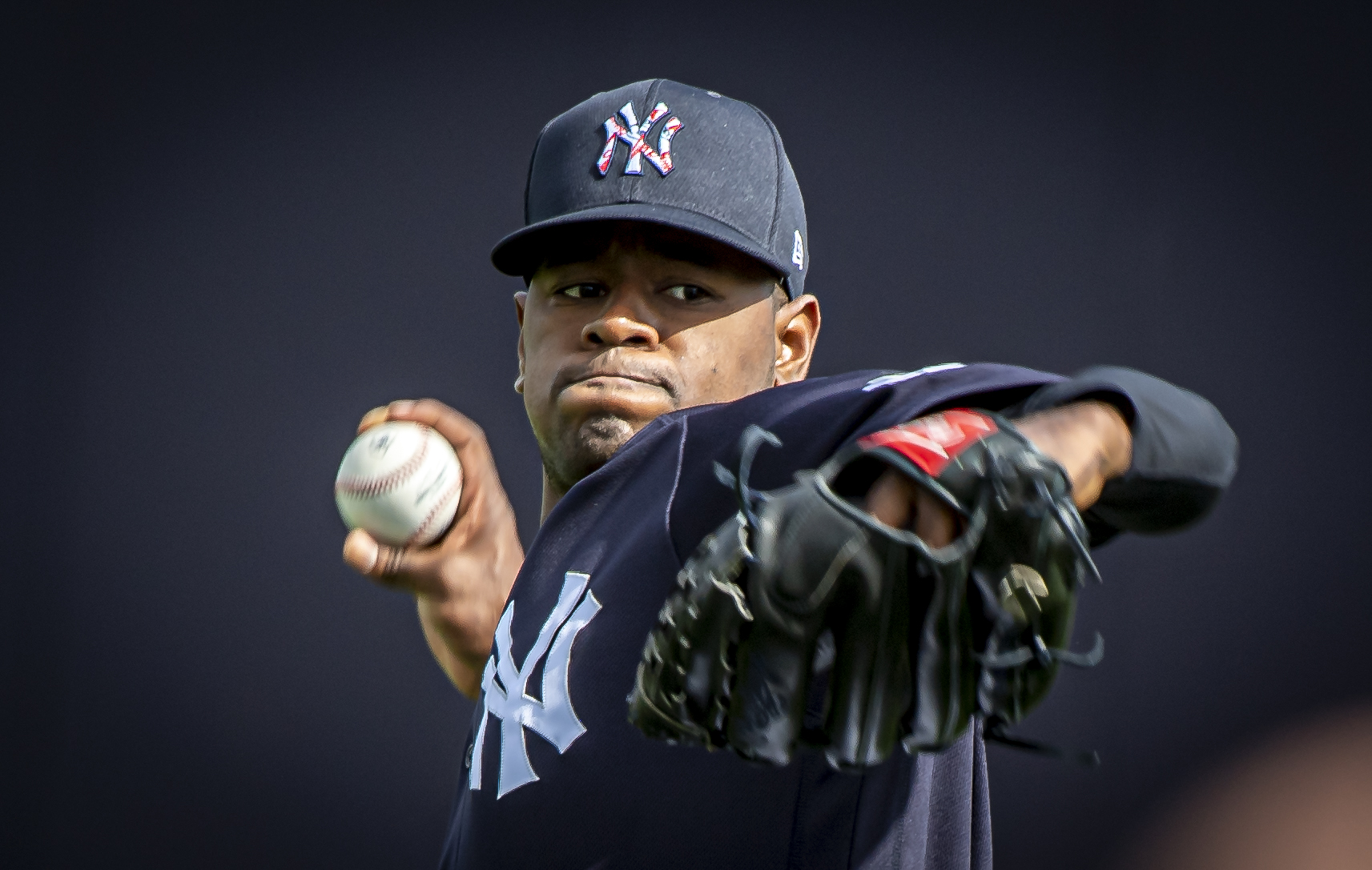Luis Severino, the Yankees right-hander warms up his arm at spring training in 2020