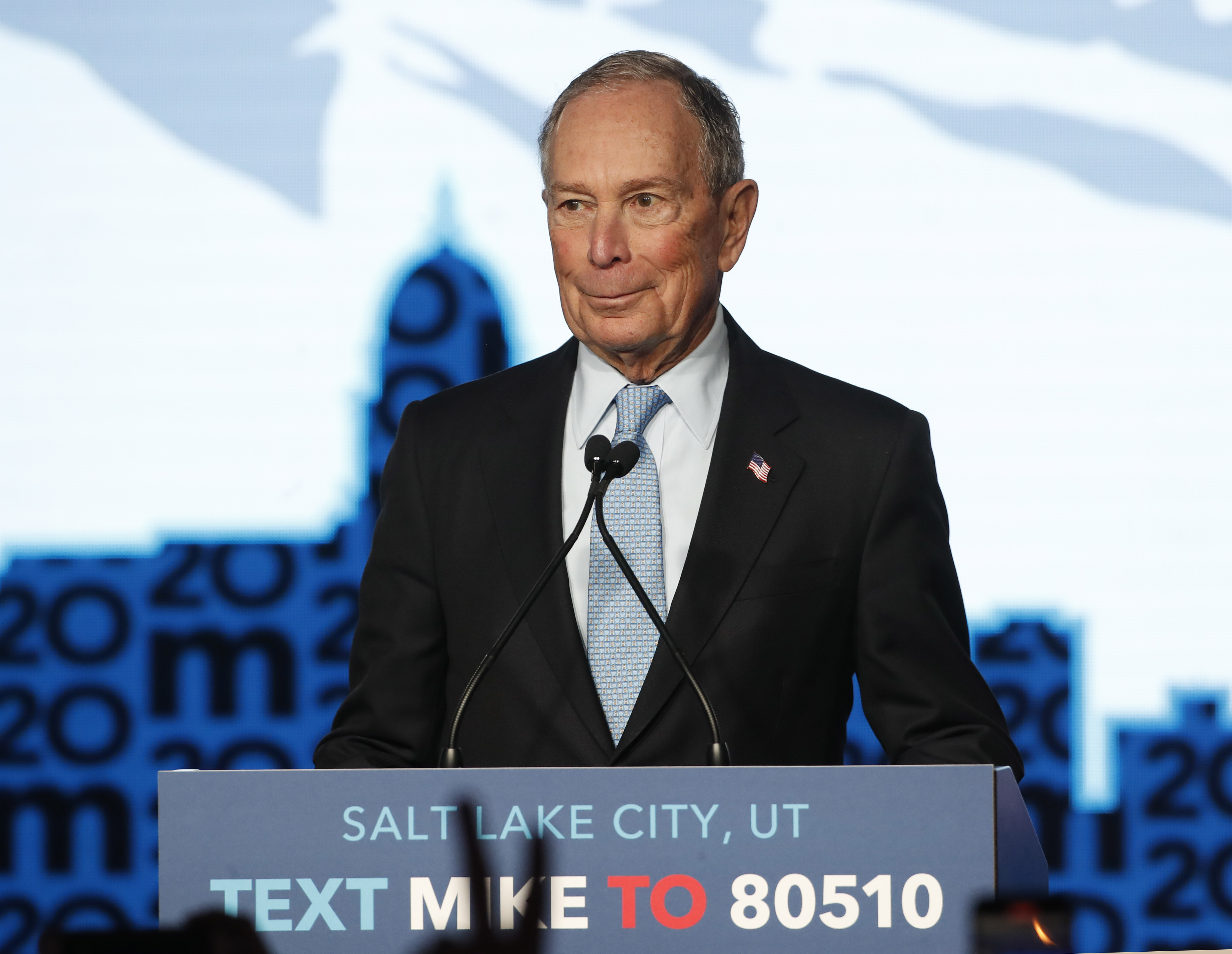 Mike Bloomberg speaking at a campaign rally in Salt Lake City.