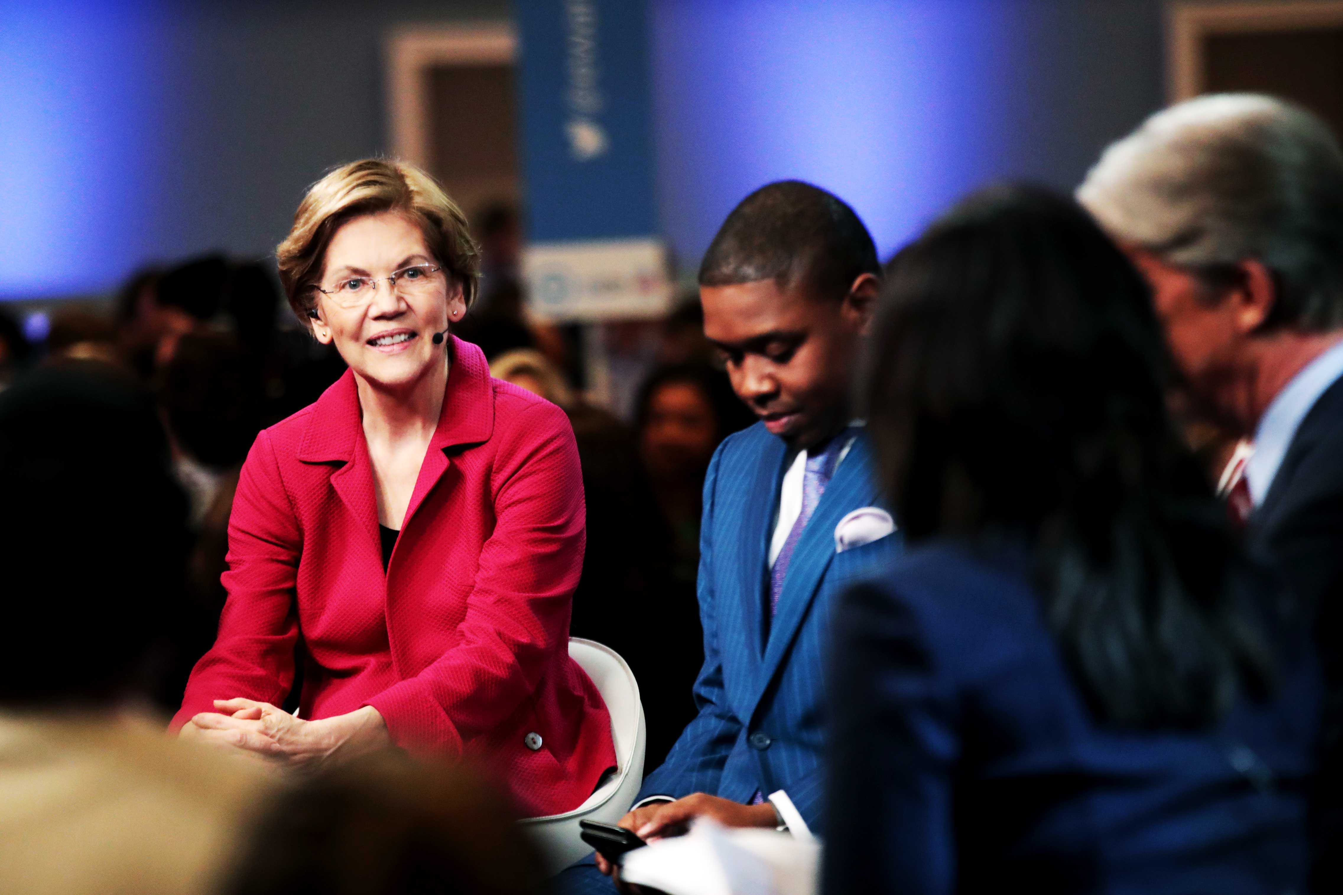 Sen. Elizabeth Warren is interviewed after the South Carolina Democratic debate February 25.