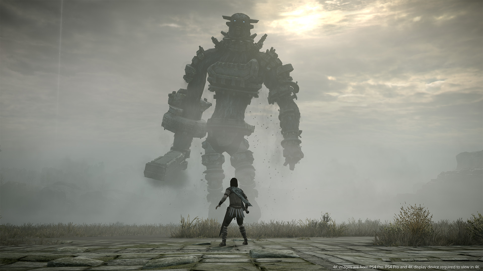 Shadow of the Colossus PS4 - Wander looks up at Gaius, the third colossus