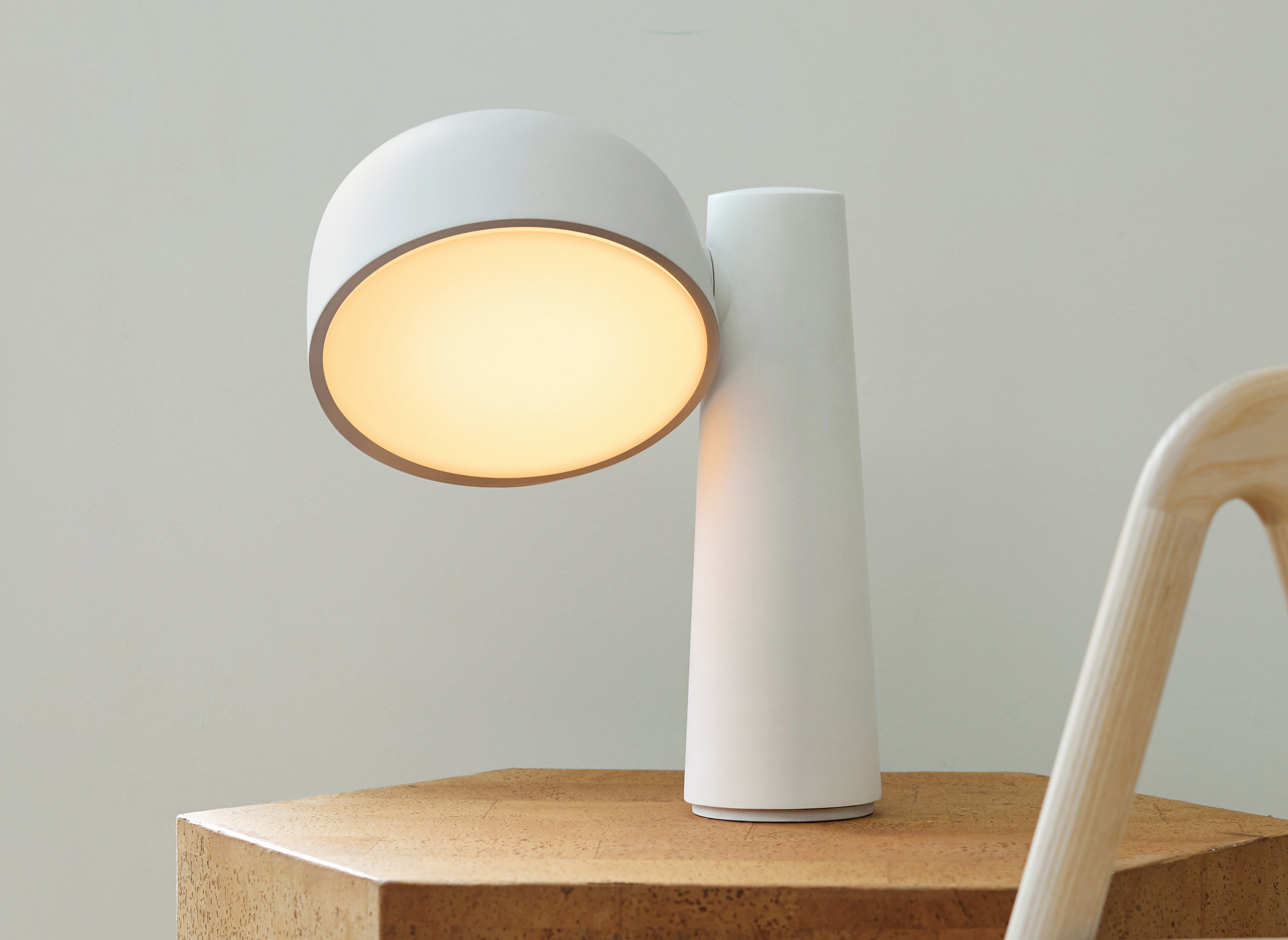 Rounded white table light.