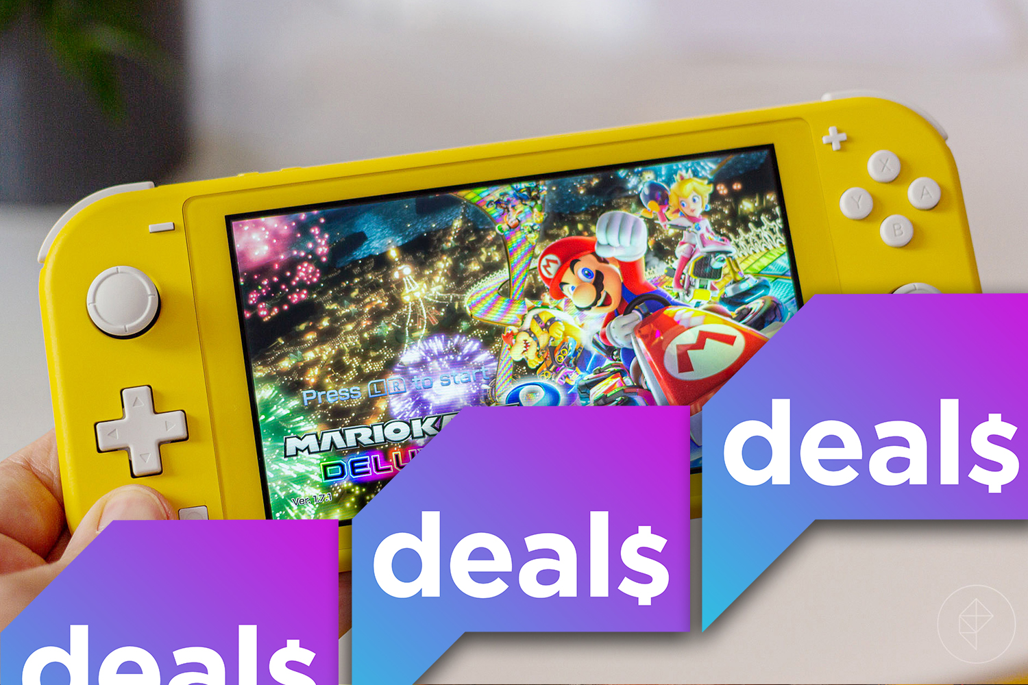 A hand holding a yellow Switch Lite overlaid with the Polygon Deals logo
