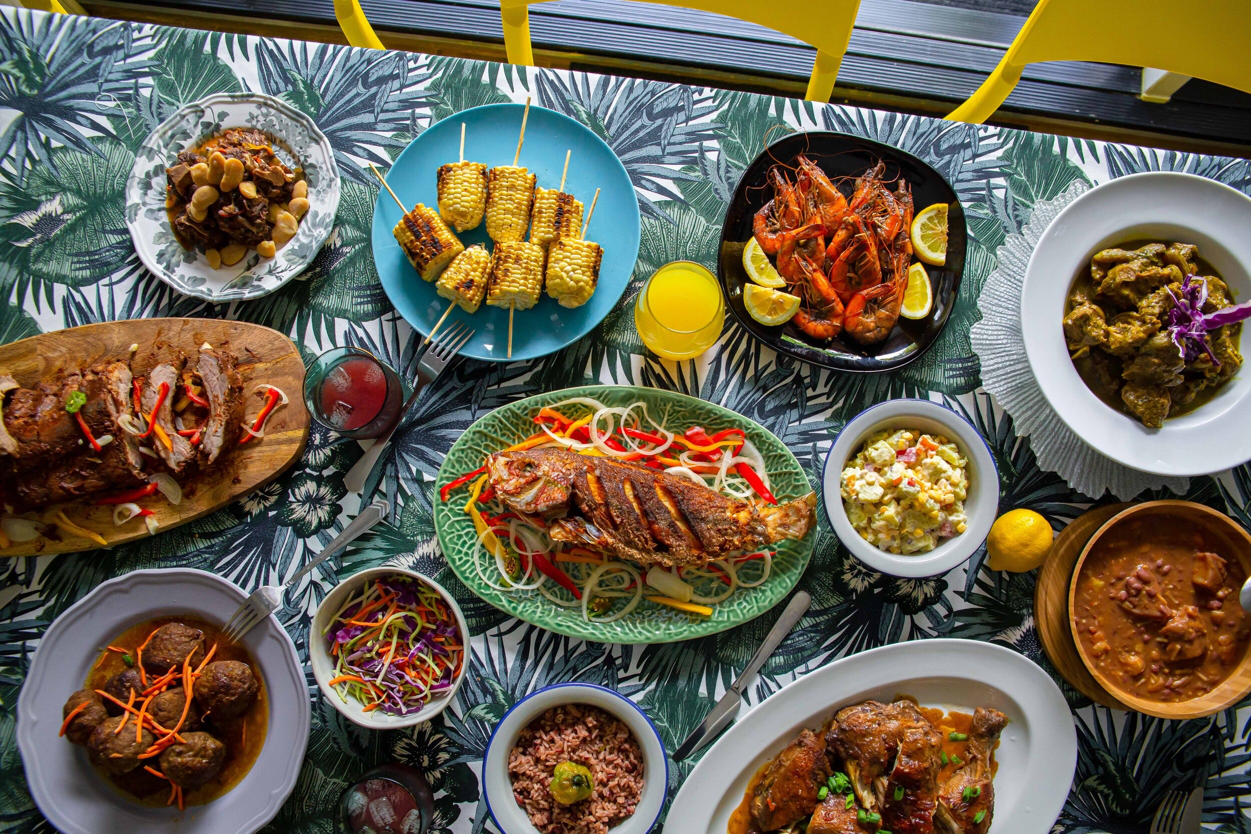 A spread of dishes at the Red's House Jamaican pop-up