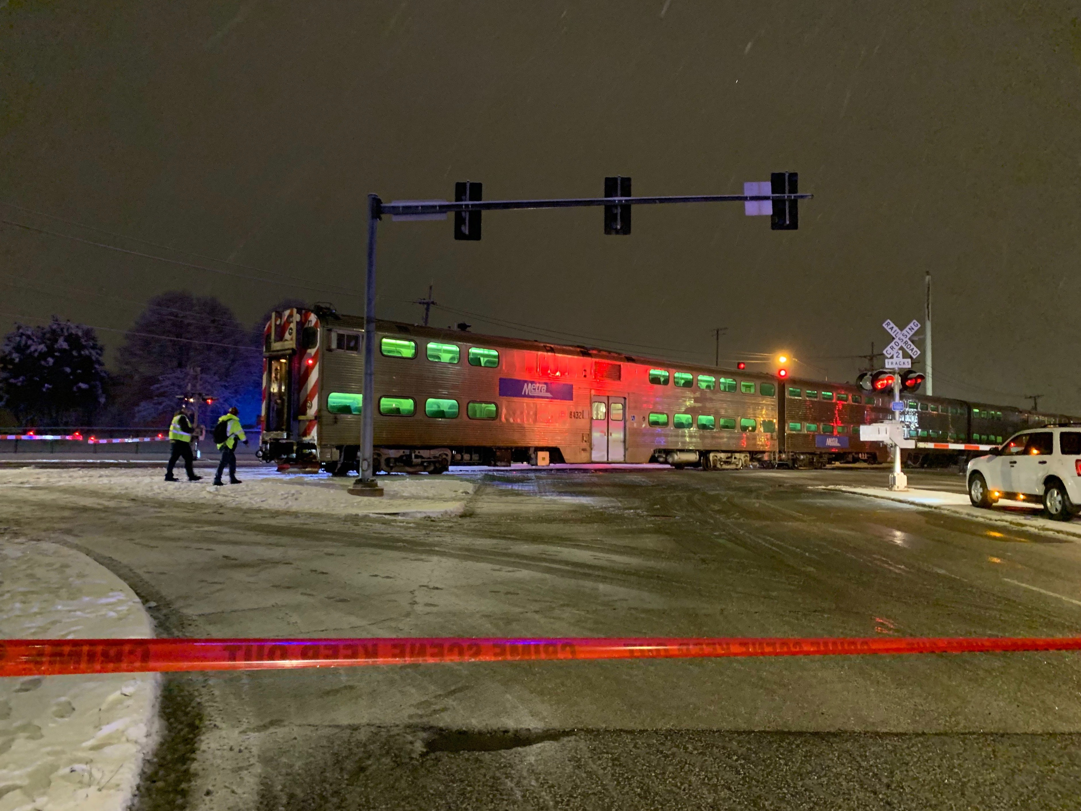 A Metra train hit a vehicle in Scottsdale on the Southwest Side