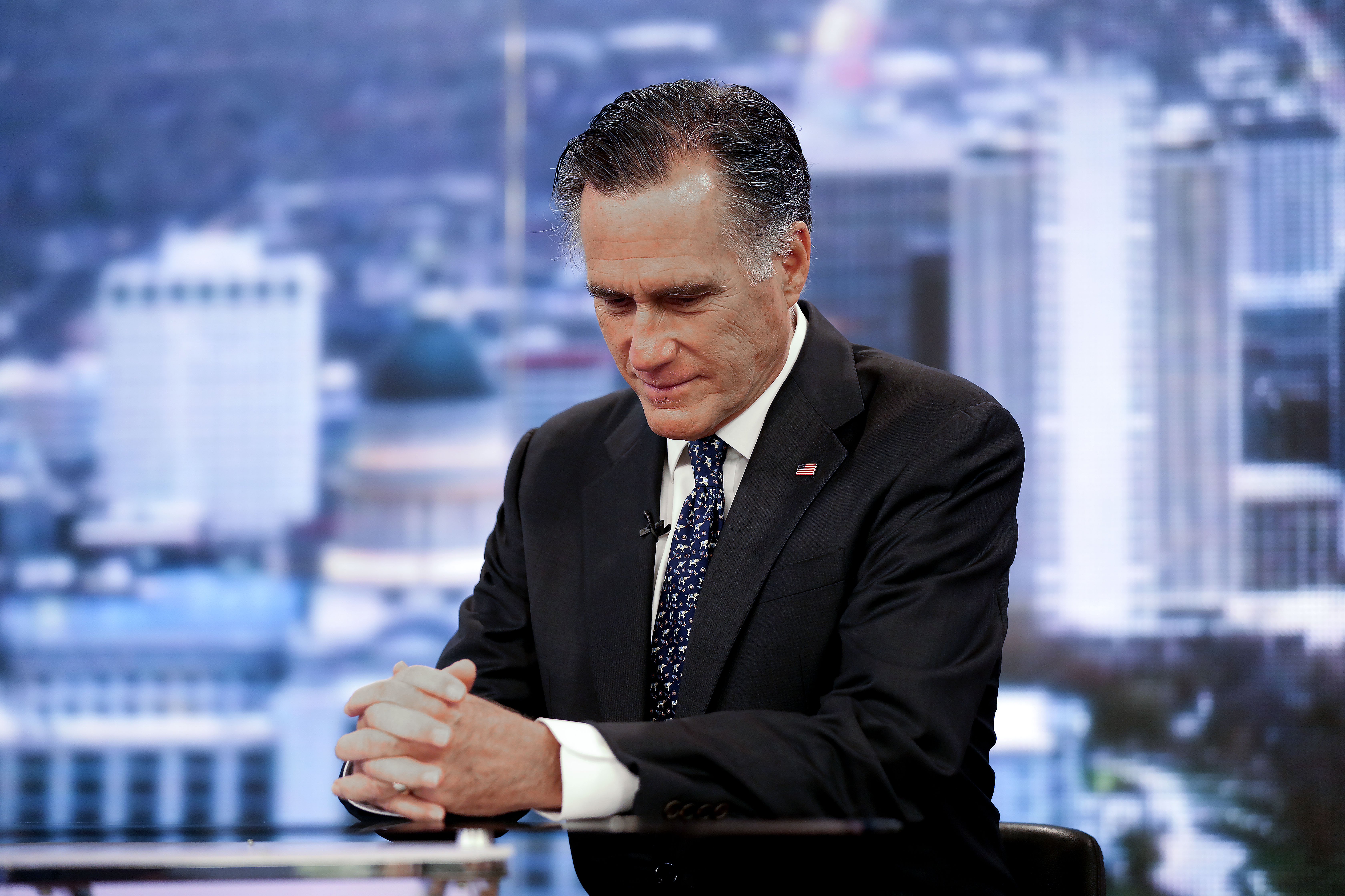 Sen. Mitt Romney, R-Utah, pauses during an interview with KSL's Doug Wright in Salt Lake City on Thursday, Feb. 6, 2020, the day after he voted to convict President Donald Trump on one impeachment count.