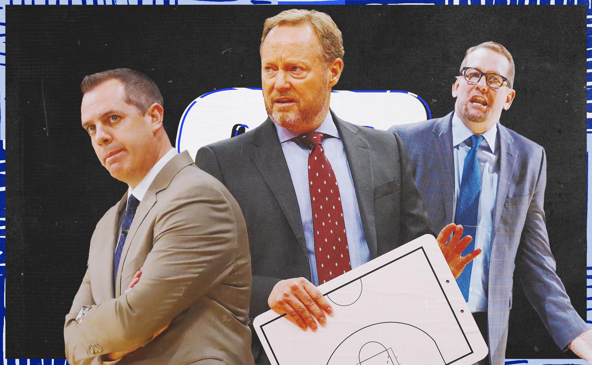 Frank Vogel (left), Mike Budenholzer (center), and Nick Nurse (right)