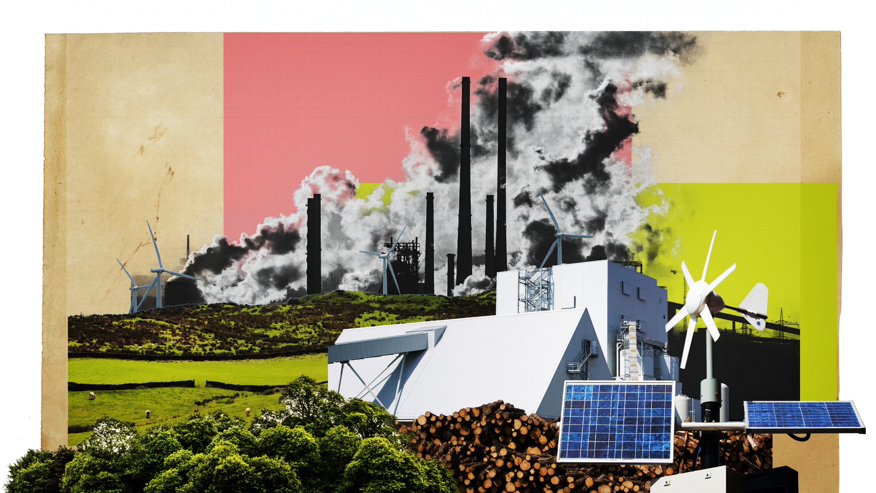 An illustration of polluting smokestacks and renewable energy.