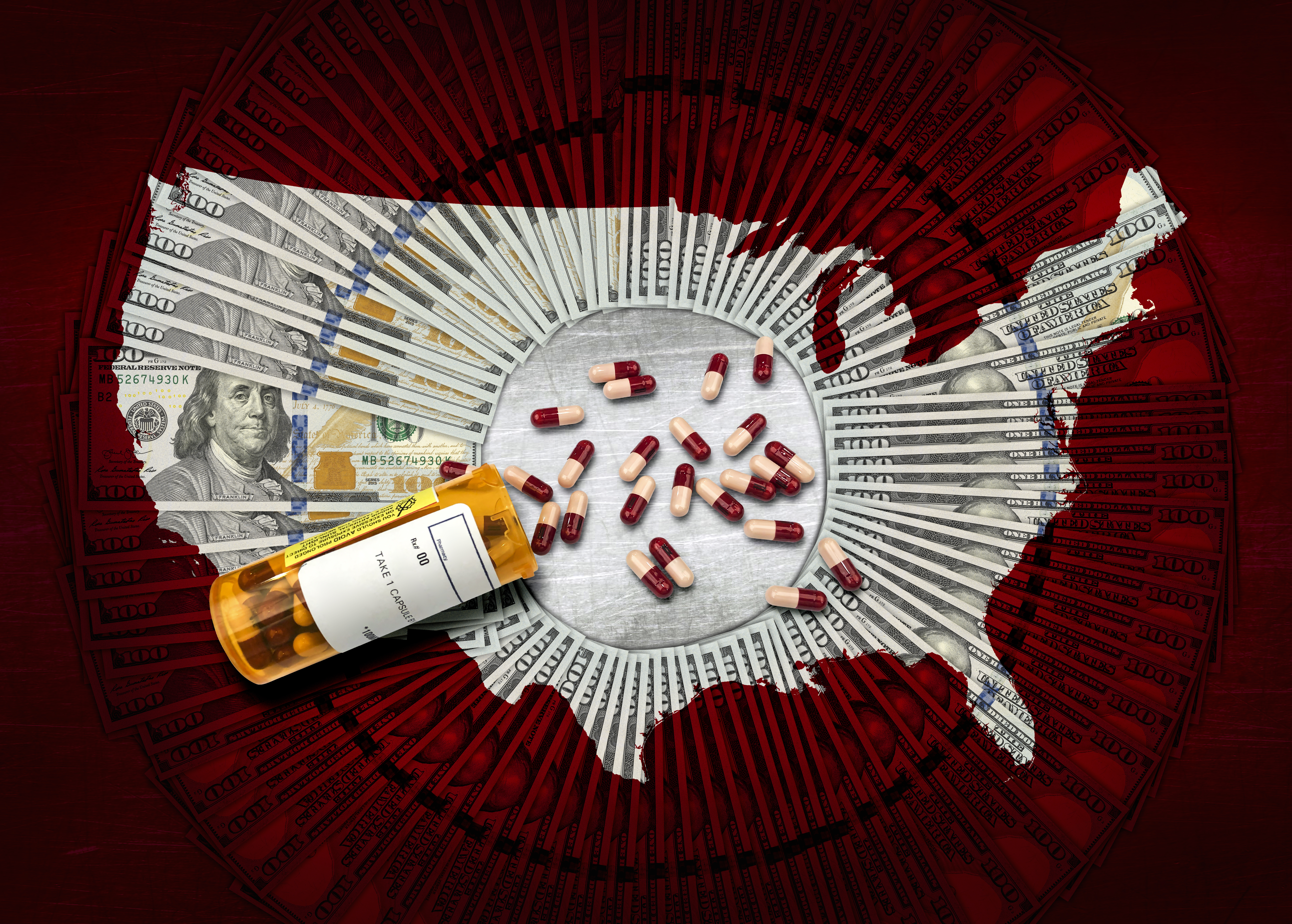 Photo illustration of a spilled bottle of prescription pills on top of a map of the United States.