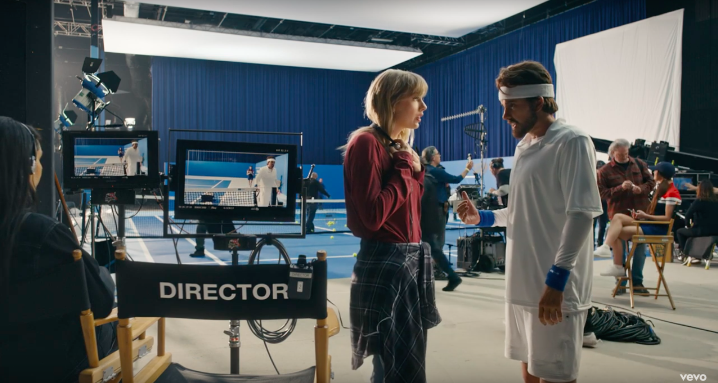 "Taylor Swift, left, directs Taylor Swift in male drag, right, in the music video for ""The Man"""