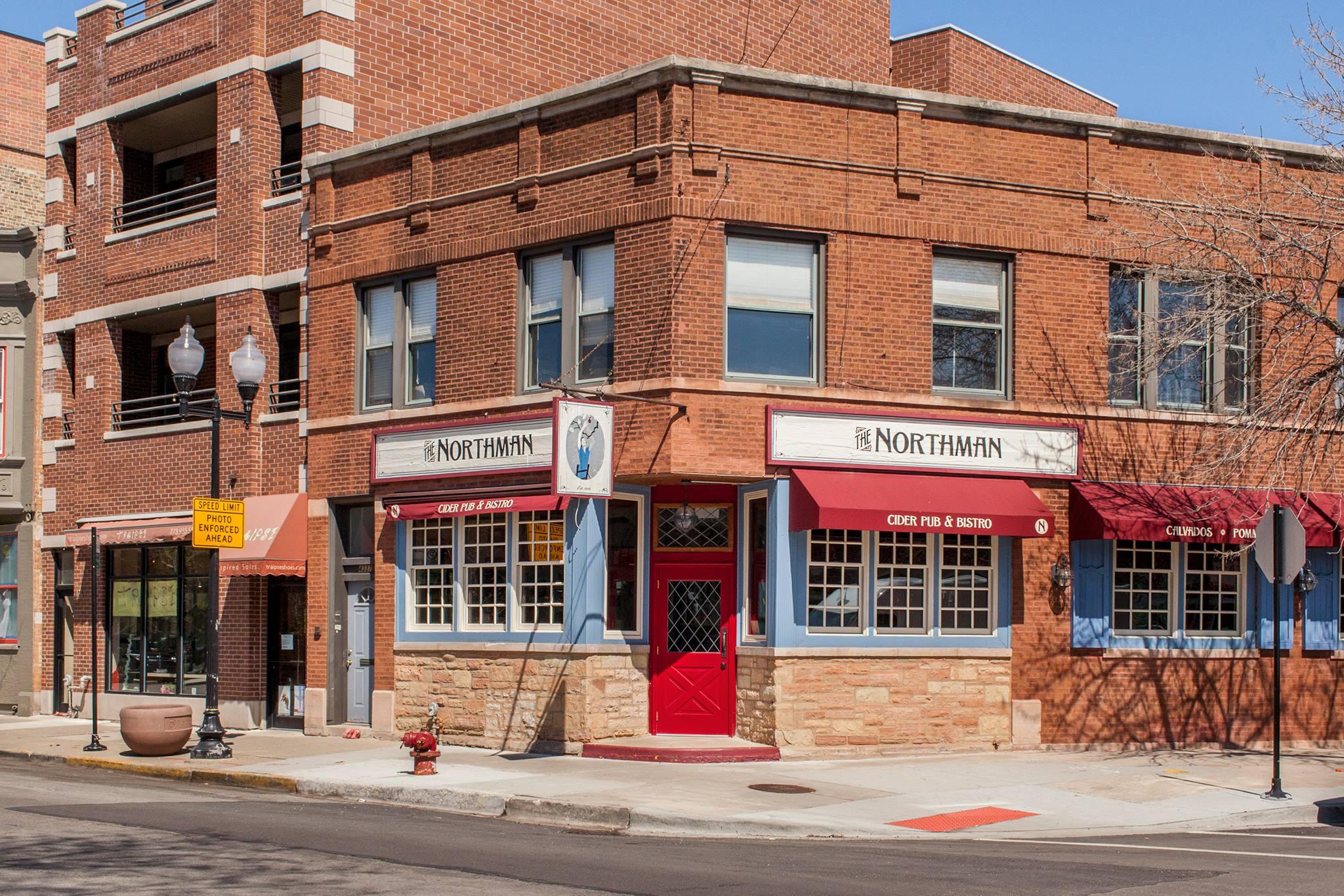 A corner bar with a brick facade.