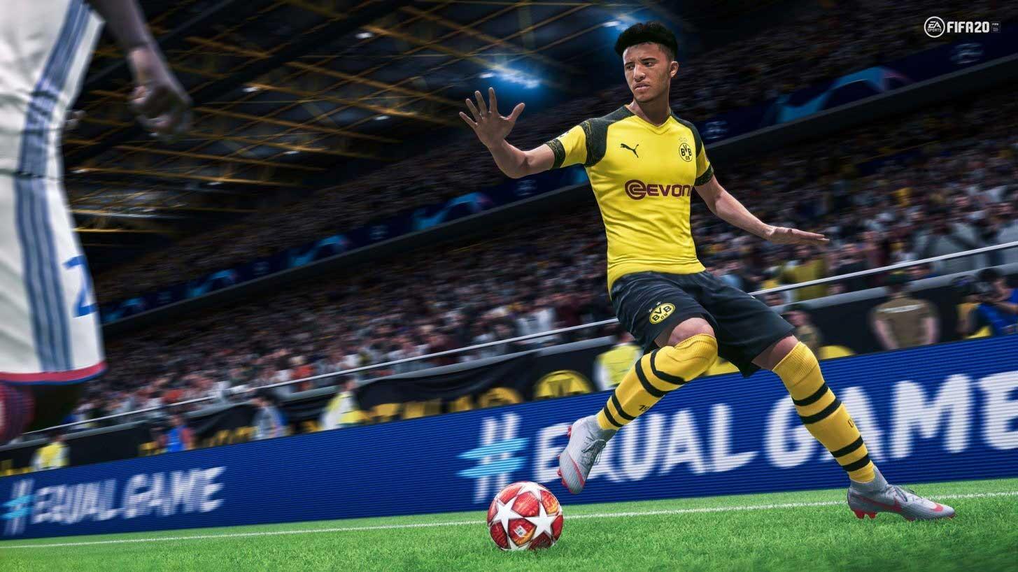 FIFA 20 player kicking a soccer ball