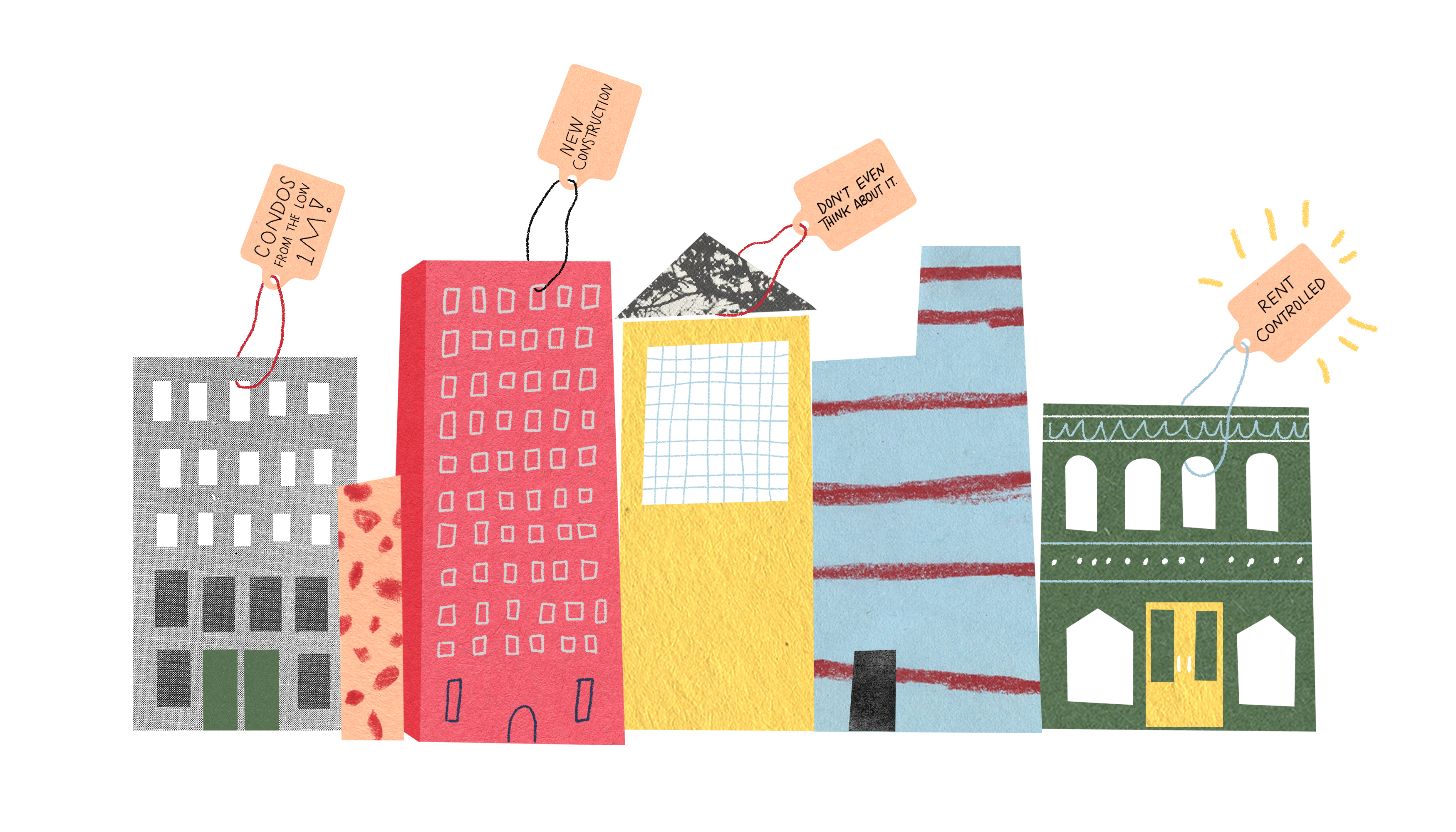 A series of city high rise buildings with giant price tags on them. Illustration.