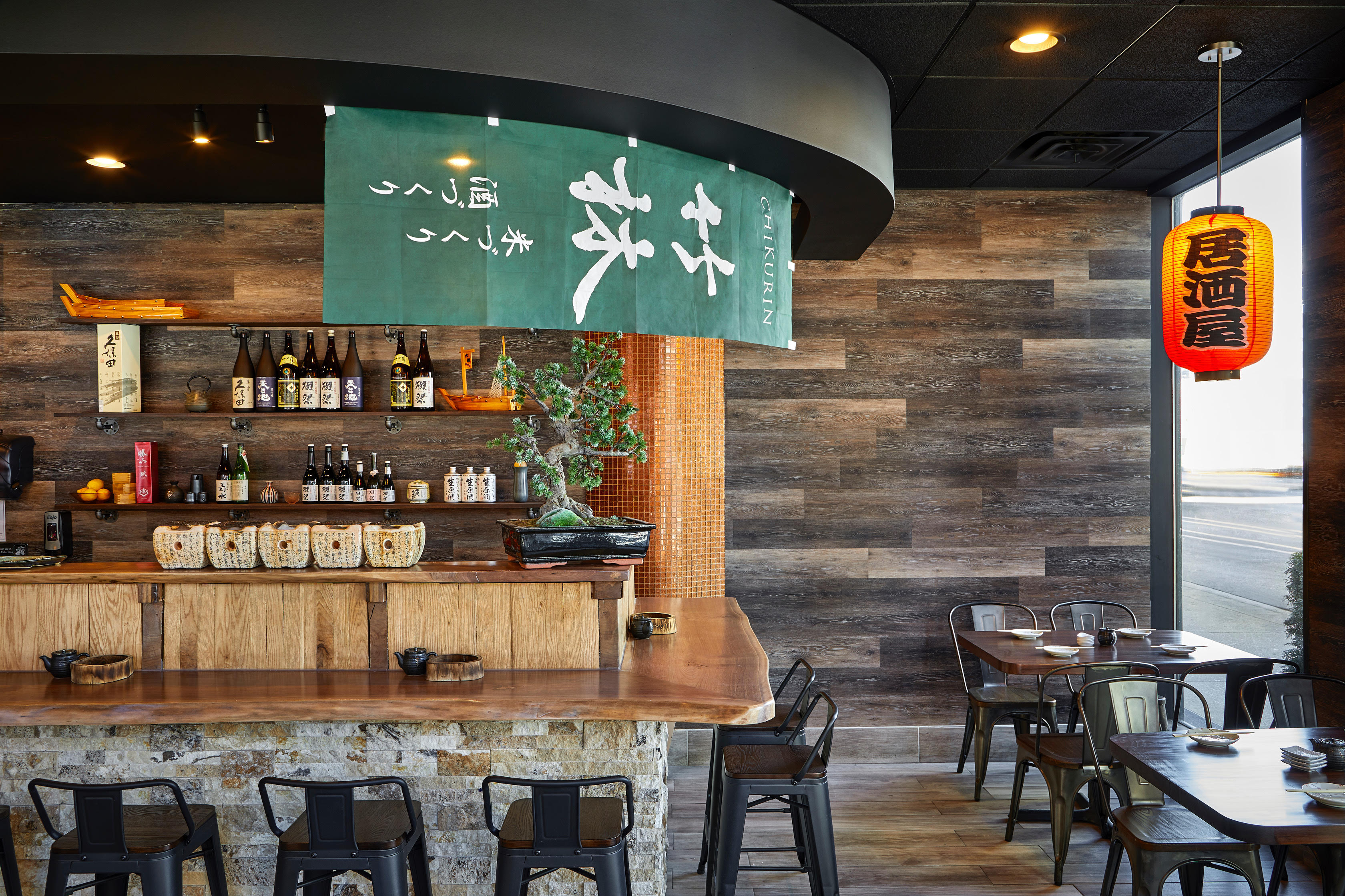 The inside of an izakaya-style bar.