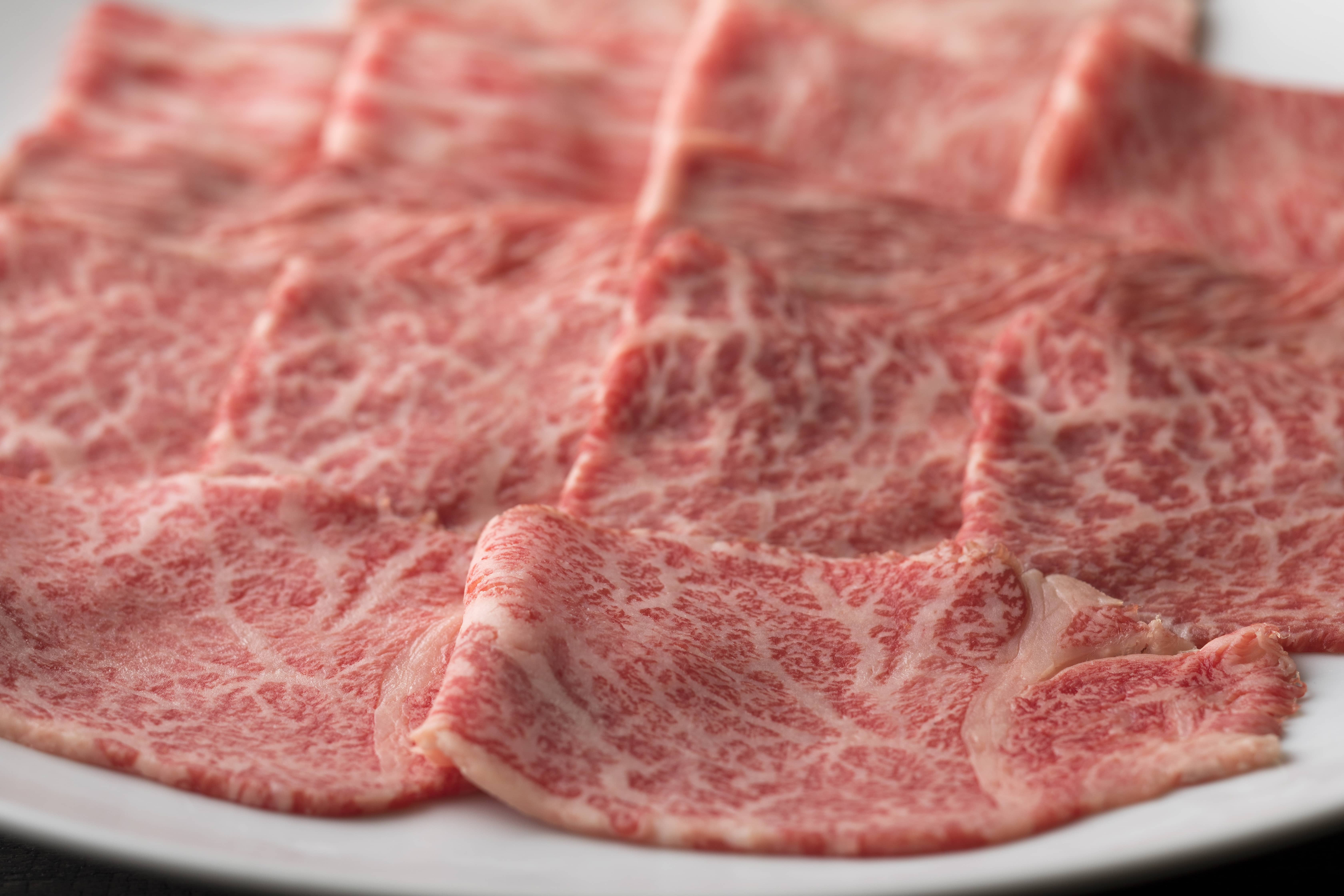 Thinly sliced wagyu beef.