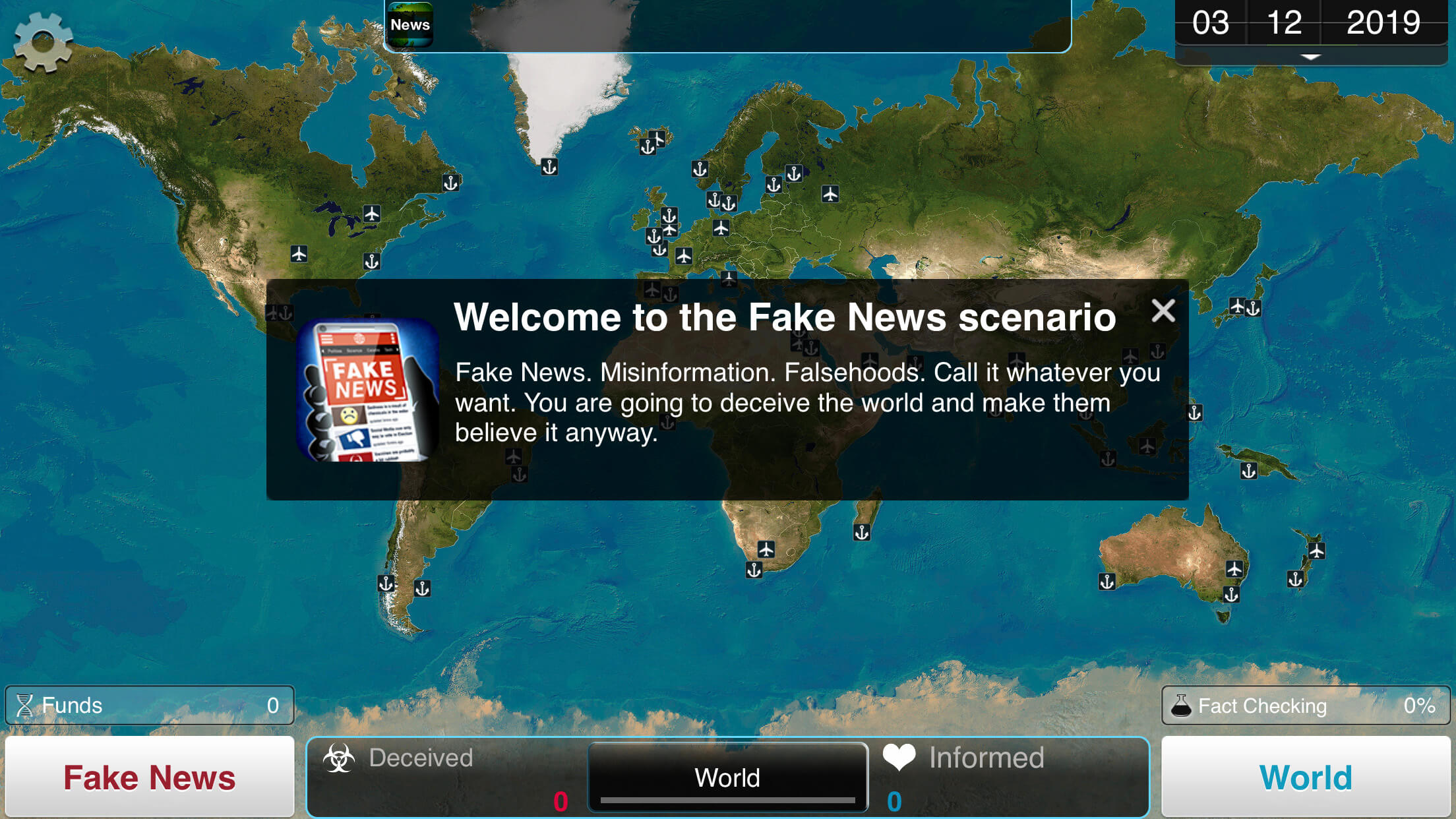 """A screen in Plague Inc. showing a world map and the beginning of the game's """"Fake News"""" scenario."""