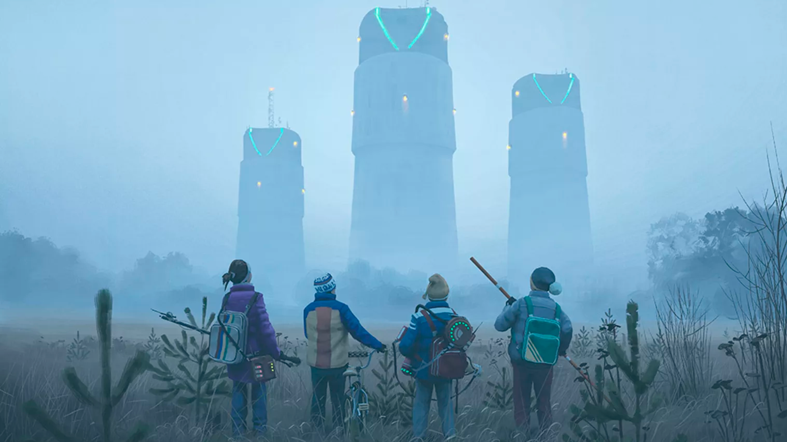 Tales From the Loop - four kids with three towers in the background