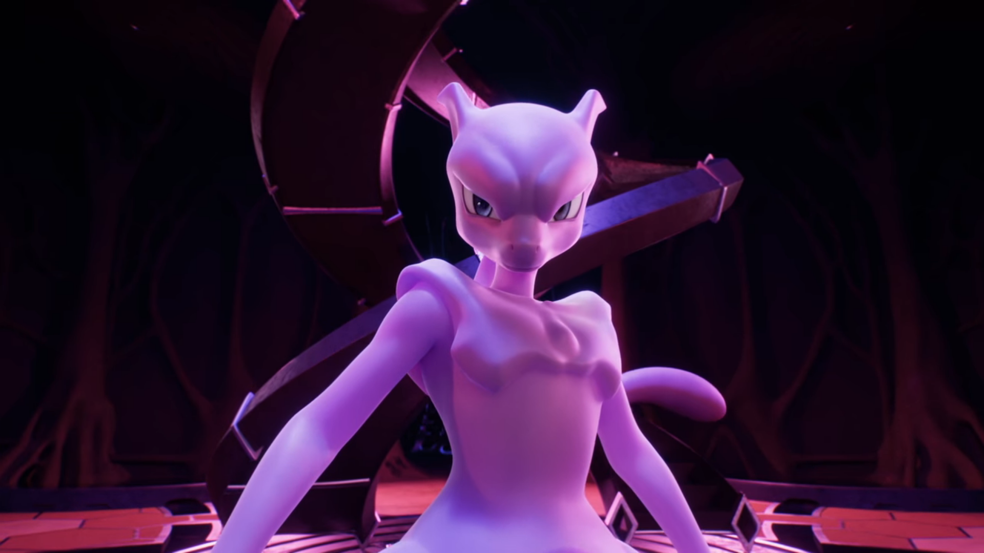 Mewtwo stands menacingly in front of a large spiral staircase