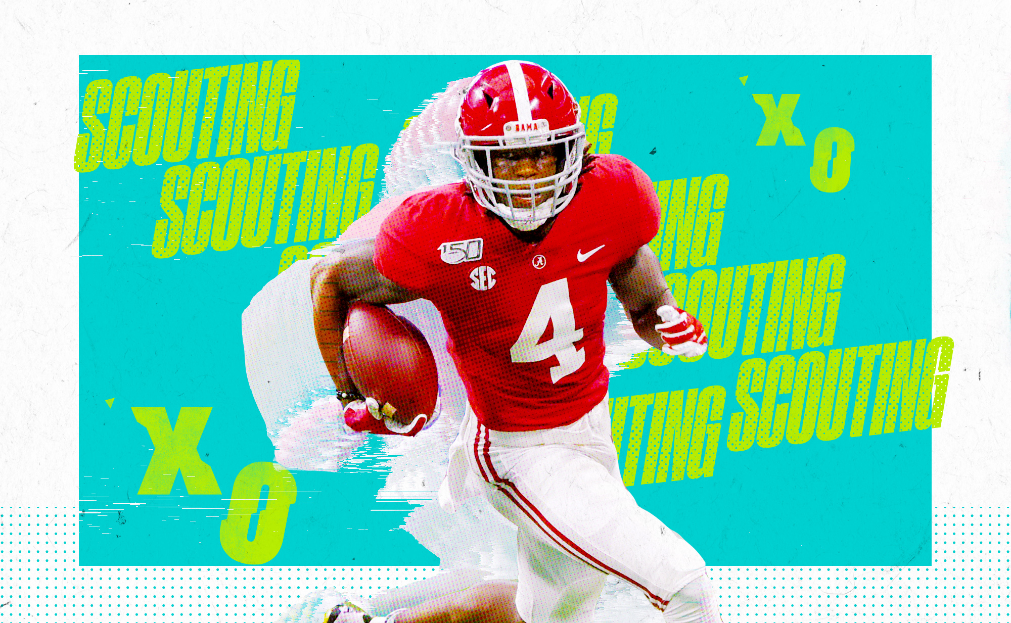 """Artwork of NFL WR prospect Jerry Jeudy carrying the ball at Alabama, superimposed on an aqua background with """"scouting"""" and """"X's and O's in neon green letters"""