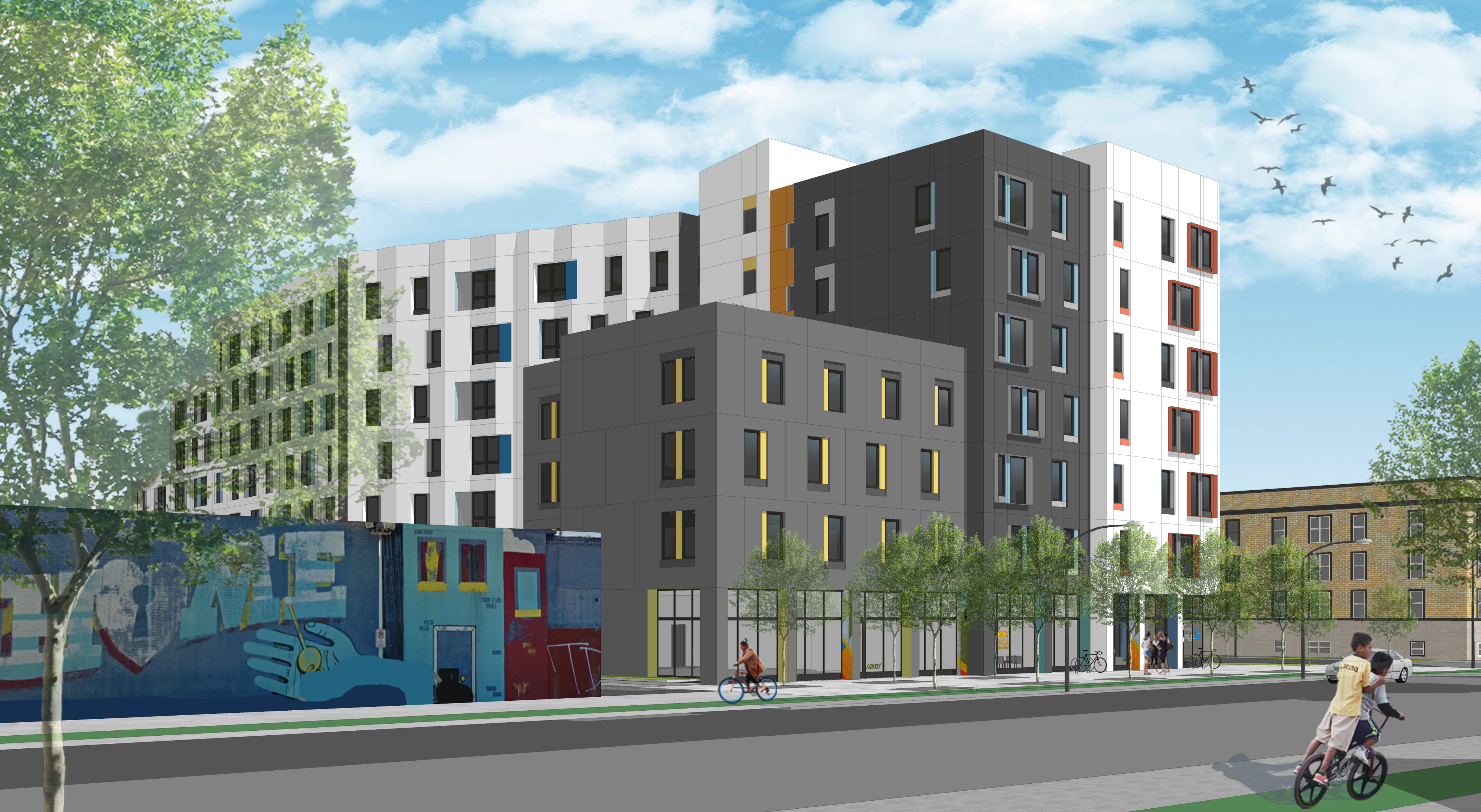 In Logan Square, Bickerdike Redevelopment says it expects to break ground soon on a 100-unit, affordable residential project, as shown in this rendering.
