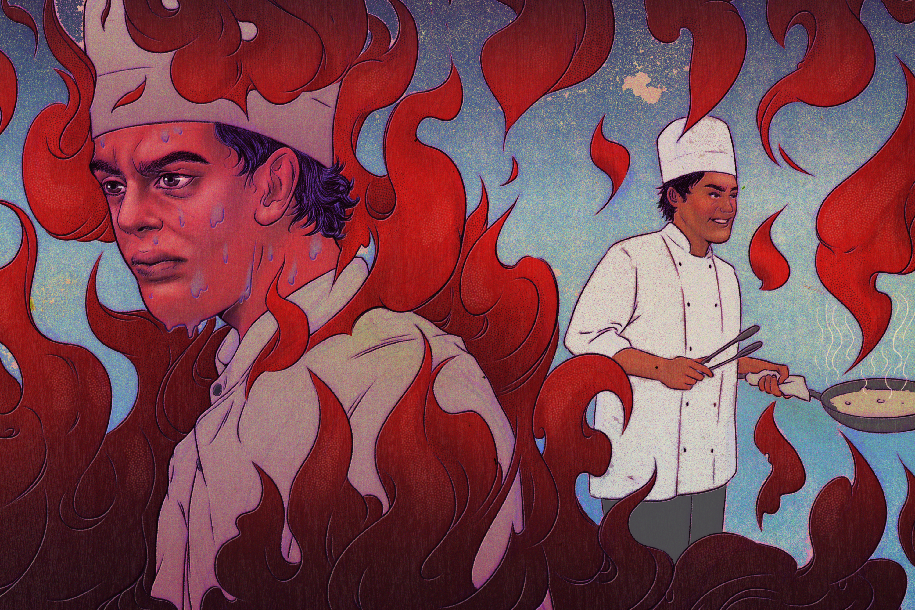 Illustration of sweating chef engulfed by flames on one side, smiling and holding a pan on the other.