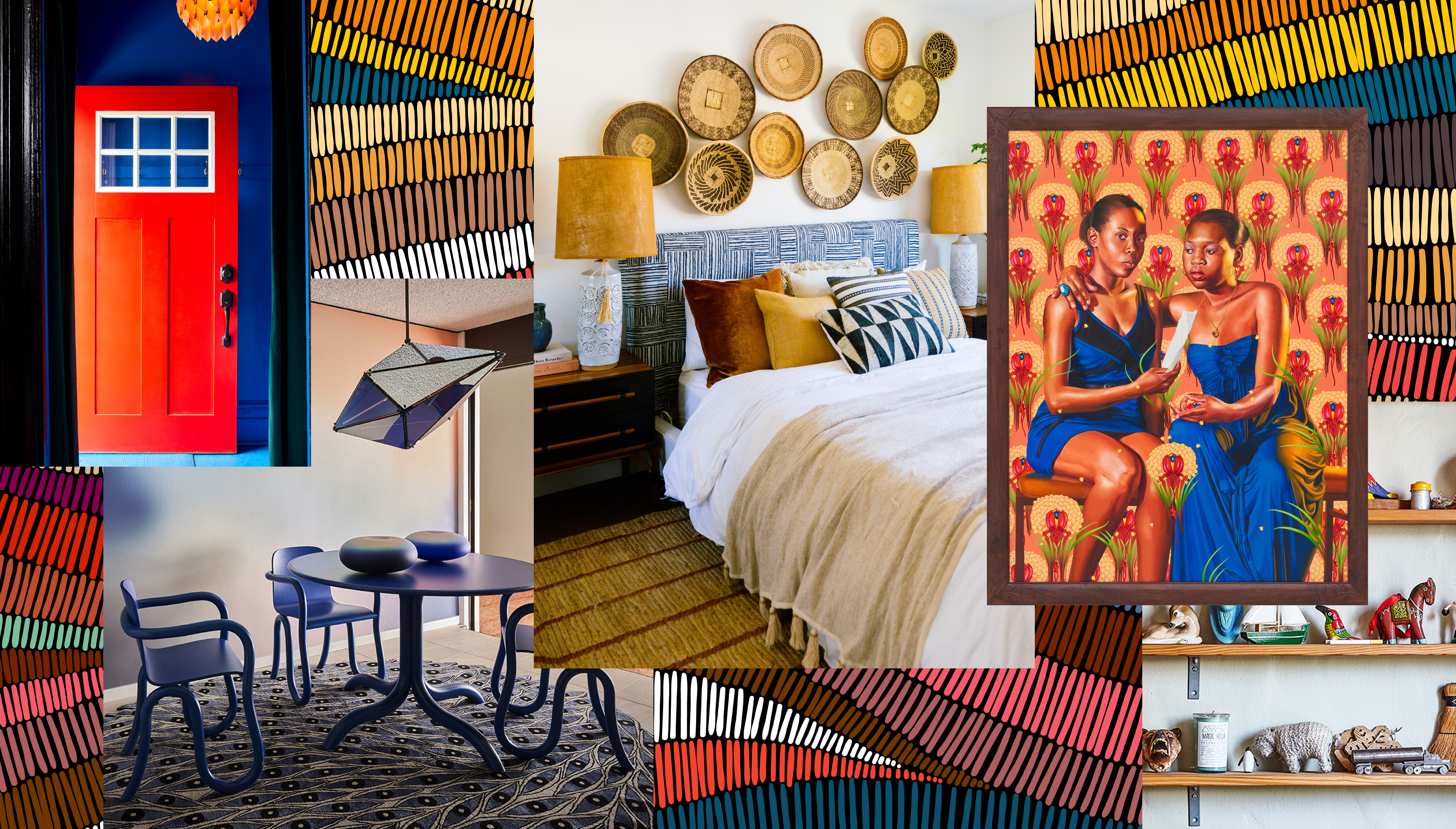 A collage of images including a red door on a blue house; a dining room with a blue table and chairs, blue rug, and gradient wallpaper; a bedroom with a group of baskets mounted above a blue headboard; and a painting of two girls set against a decorative backdrop.