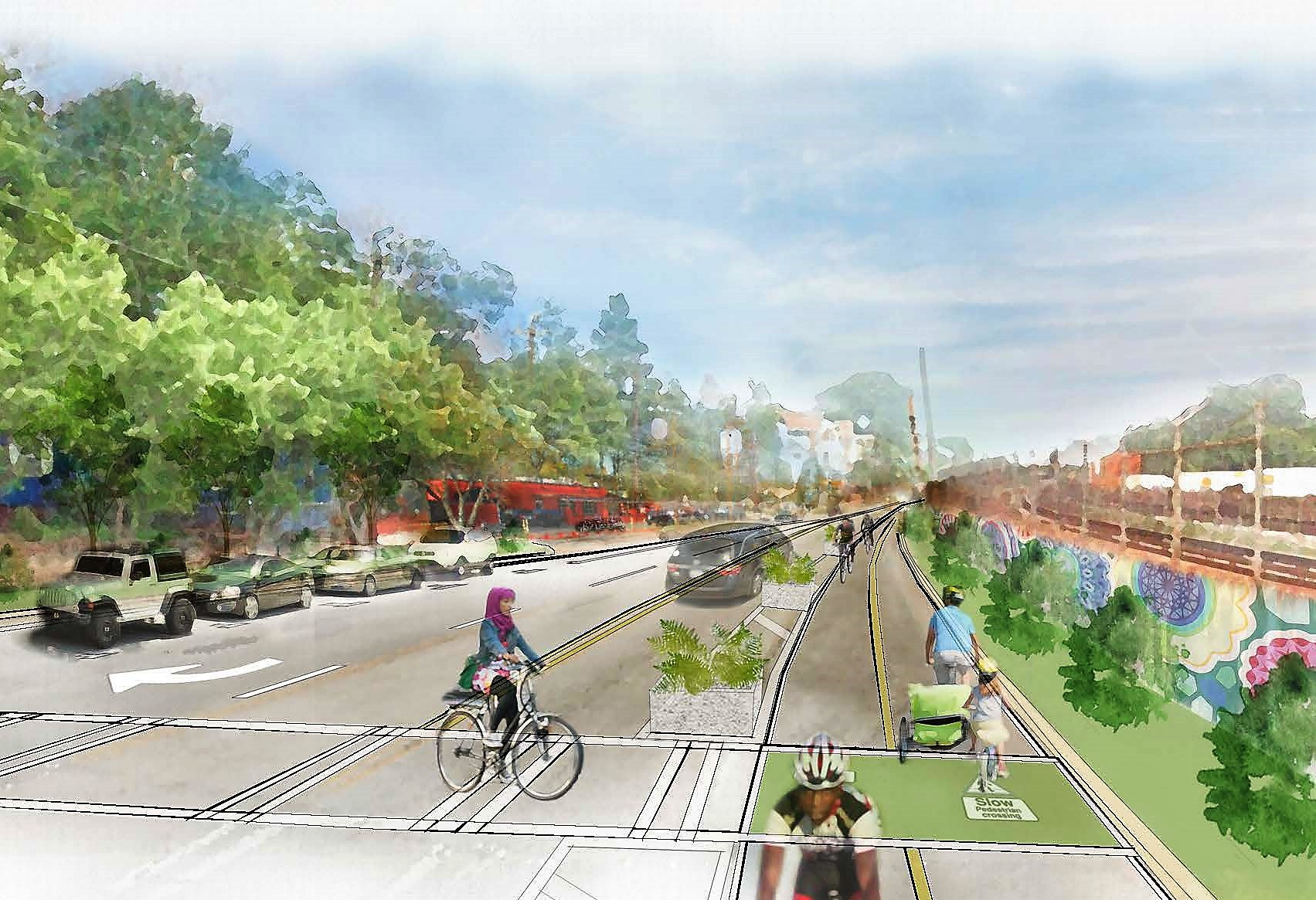 a rendering shows a possible reworking of DeKalb Avenue.