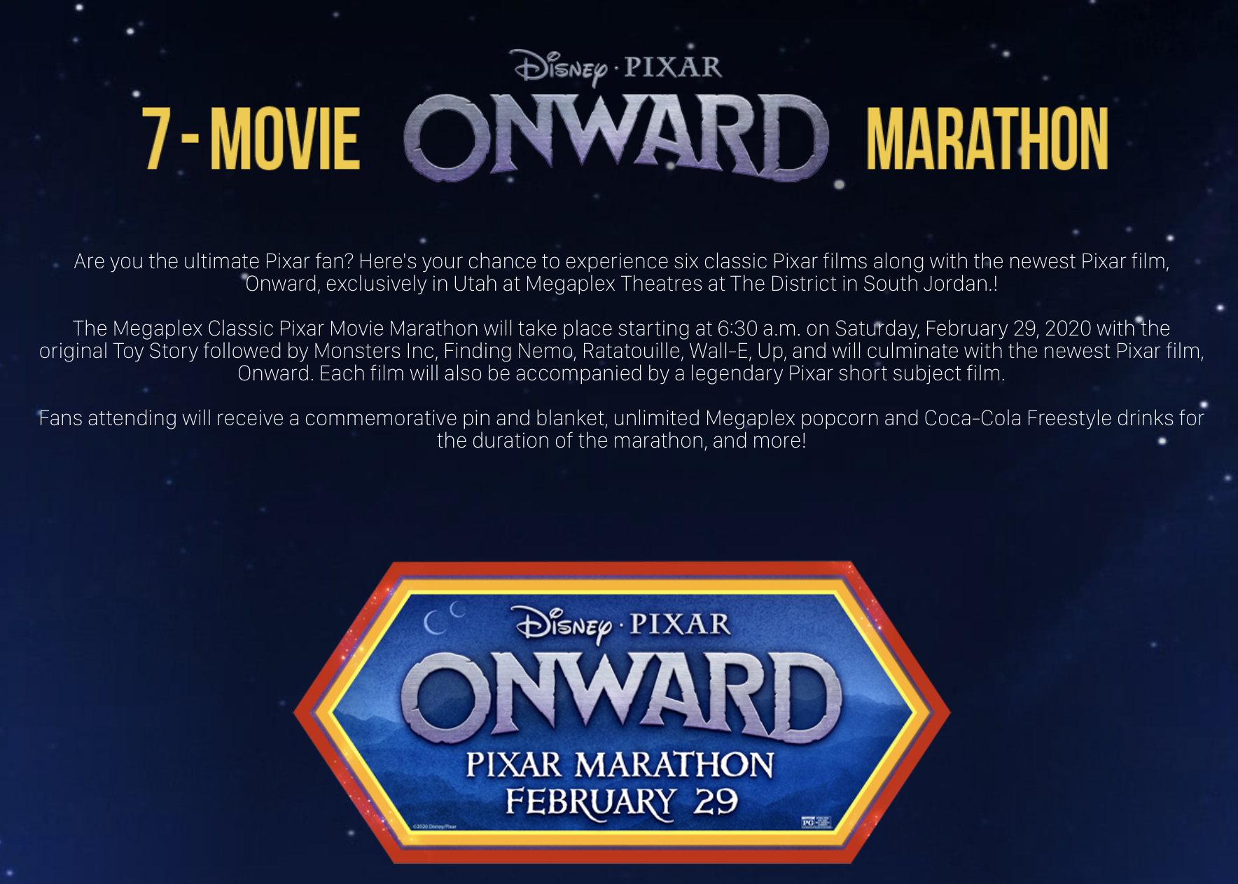 "Starting Saturday morning, the Megaplex Theatres will host a seven-film, 15-hour Pixar movie marathon ahead of the release of the new film ""Onward,"" which we will see in an advanced screening."