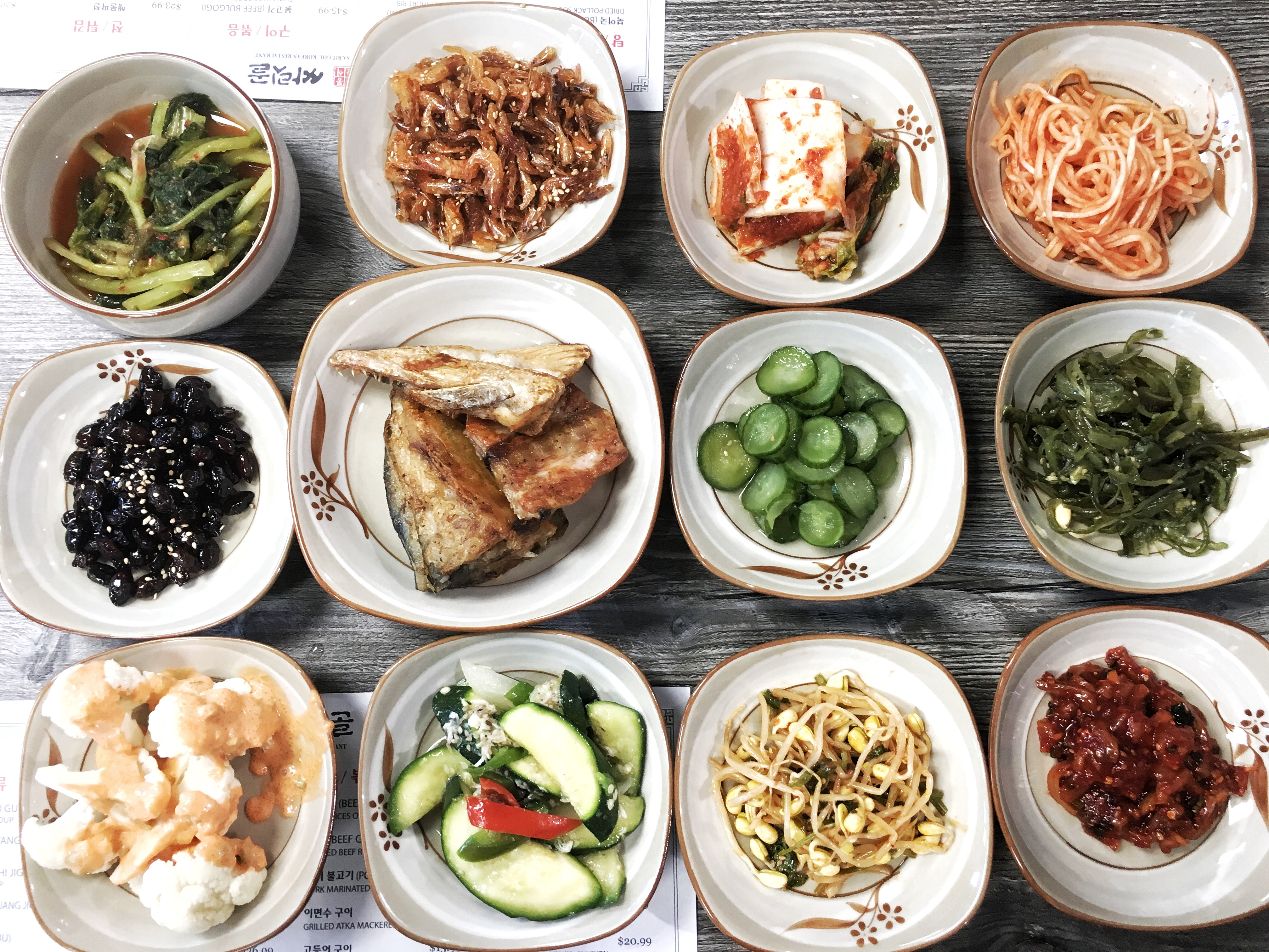 Banchan at a Korean restaurant in Los Angeles.