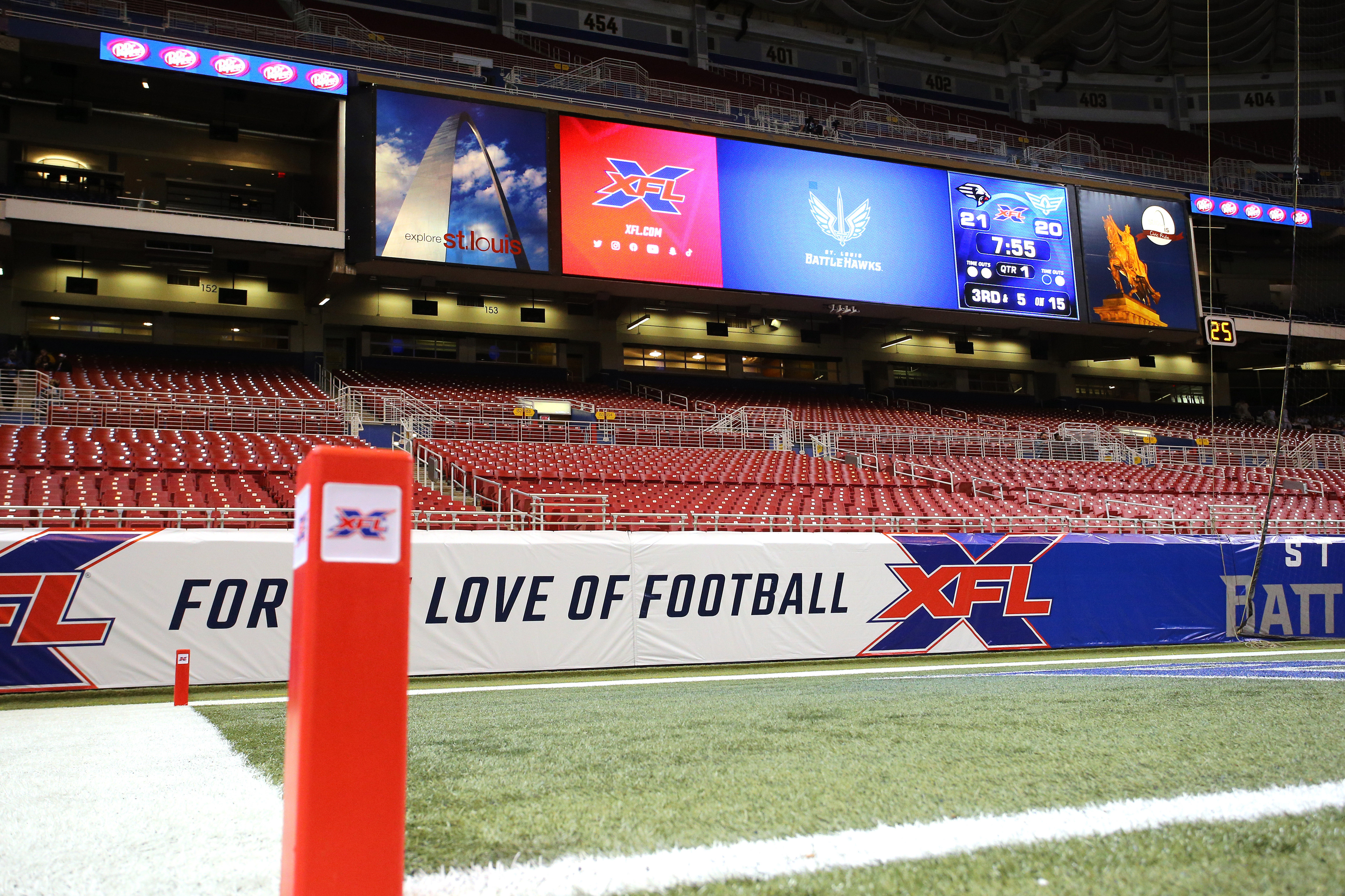 A general view of the endzone and XFL pylon prior to a game between the St. Louis Battlehawks and the NY Guardians at The Dome at America's Center.