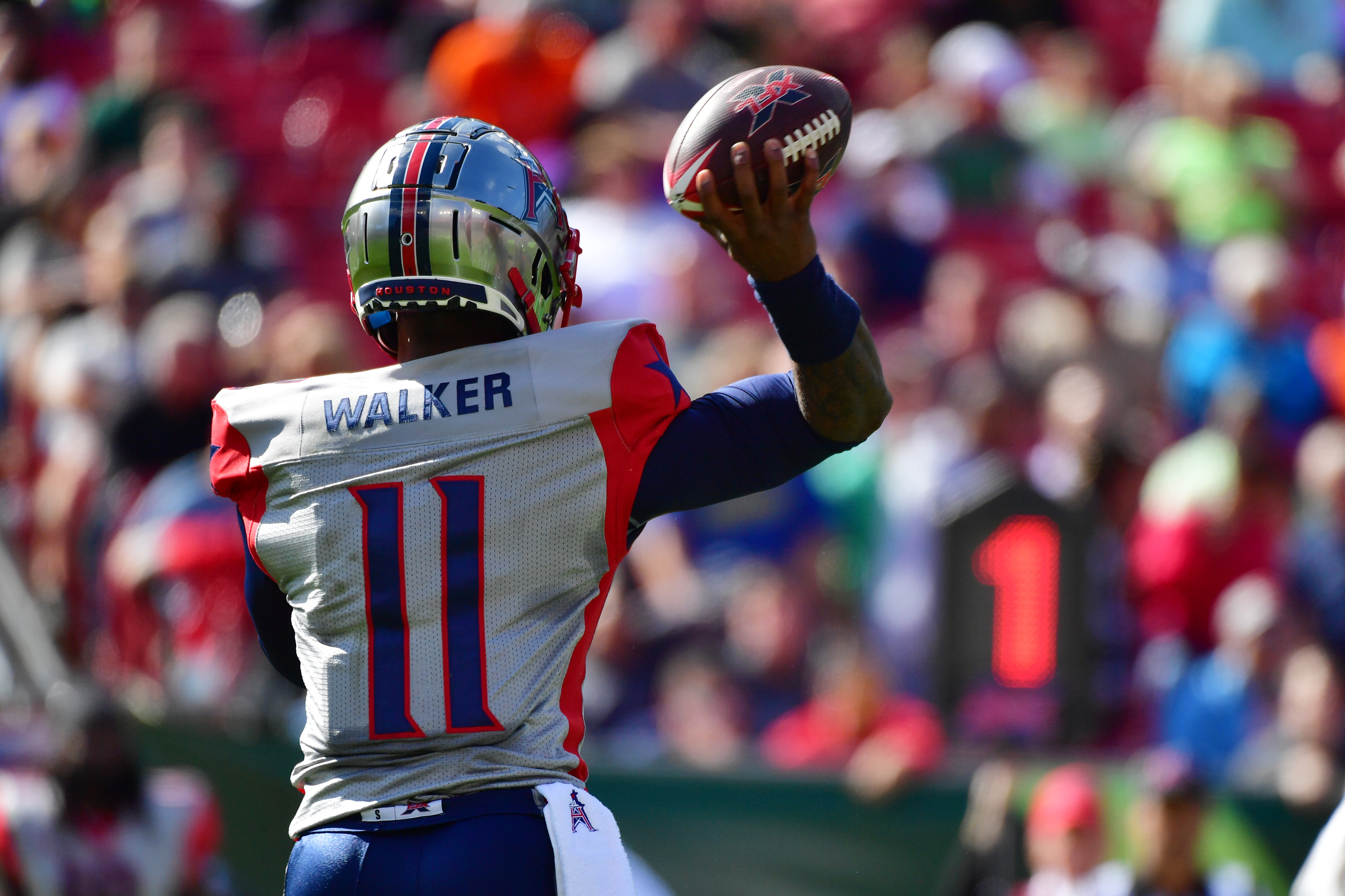 P.J. Walker #11 of the Houston Roughnecks throws a pass during the second quarter of a football game against the Tampa Bay Vipers at Raymond James Stadium on February 22, 2020 in Tampa, Florida.