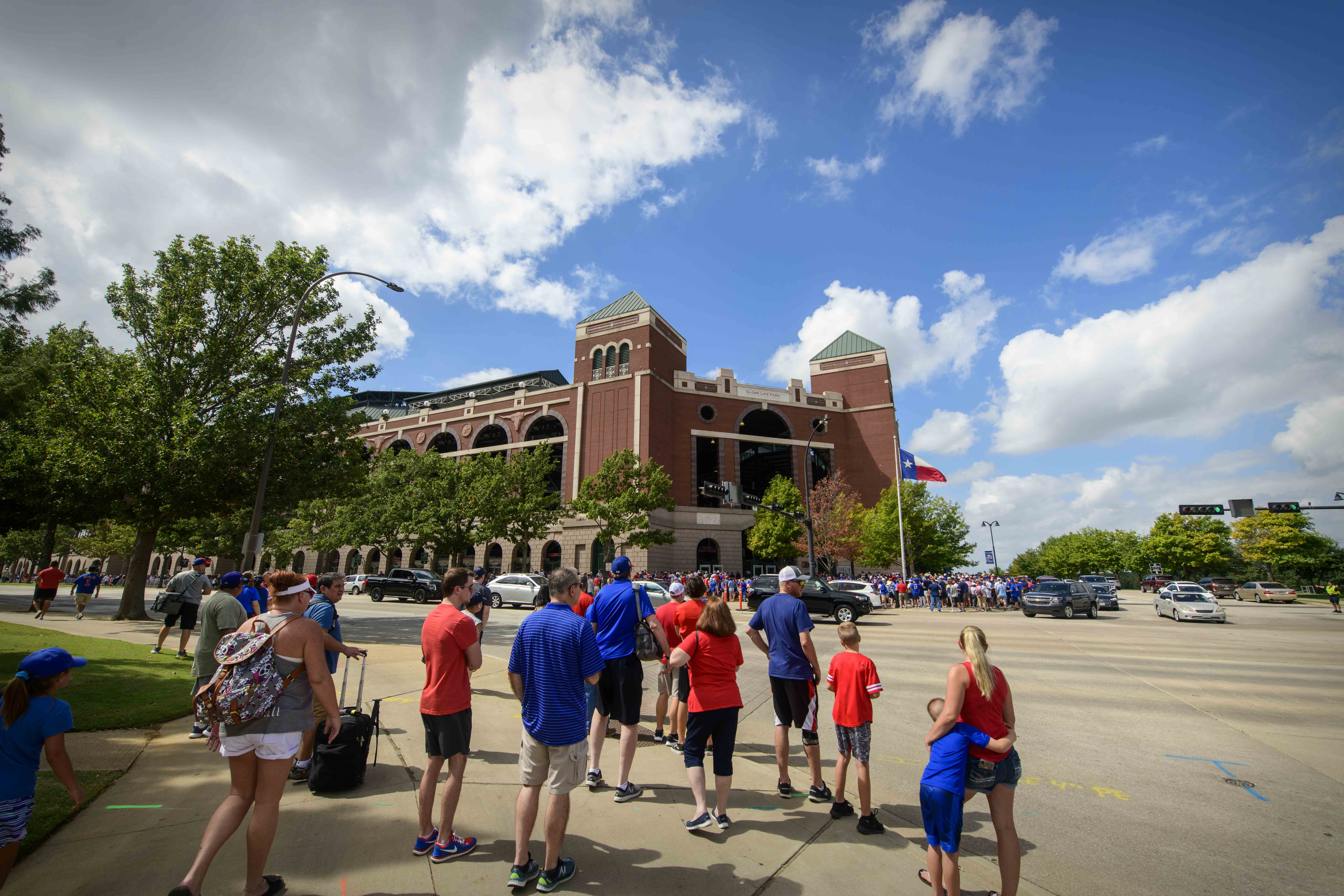 A general view of the fans walking into the park before the Texas Rangers and New York Yankees play the final home game at Globe Life Park in Arlington.