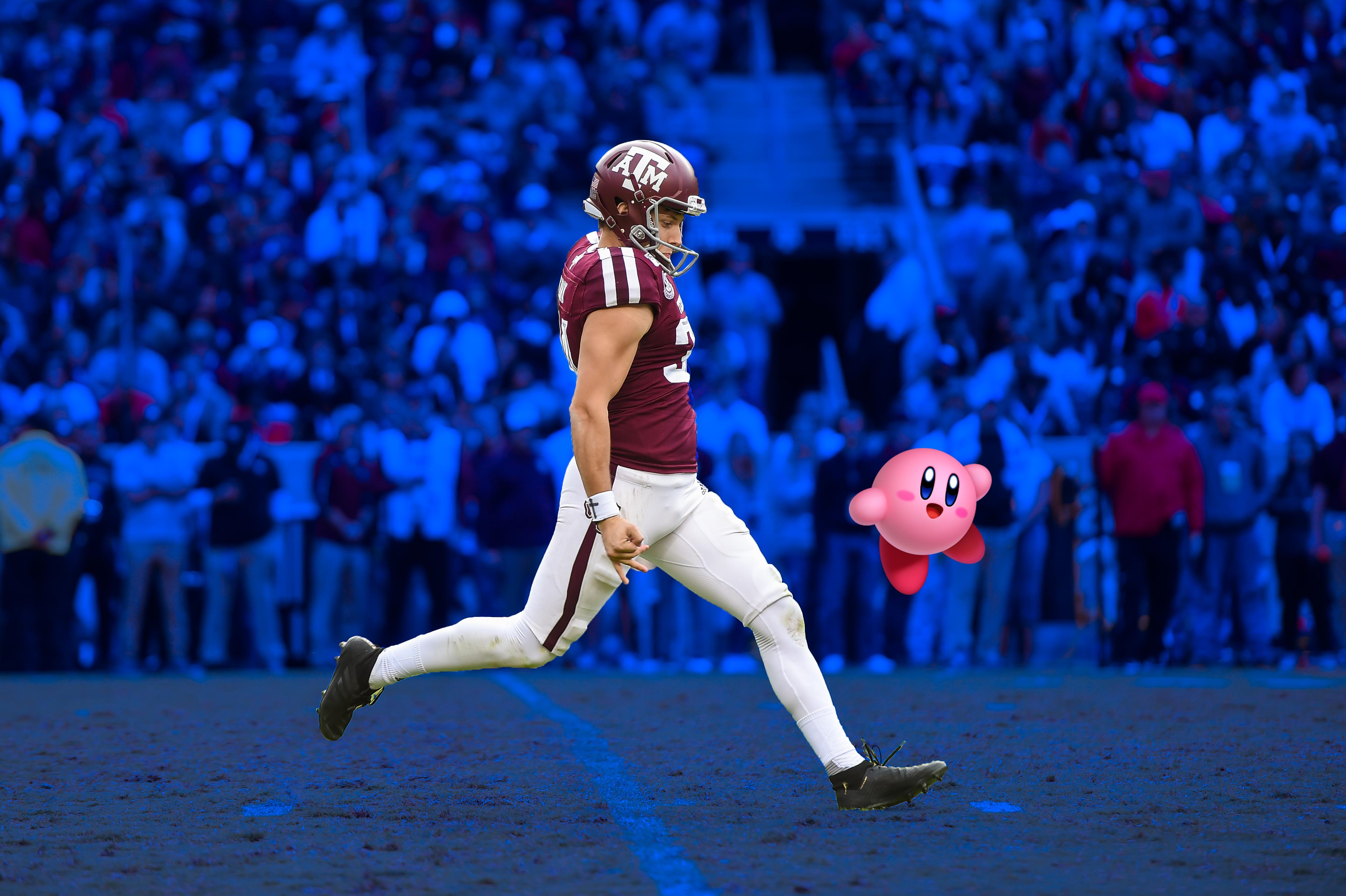 Braden Mann punts Kirby.