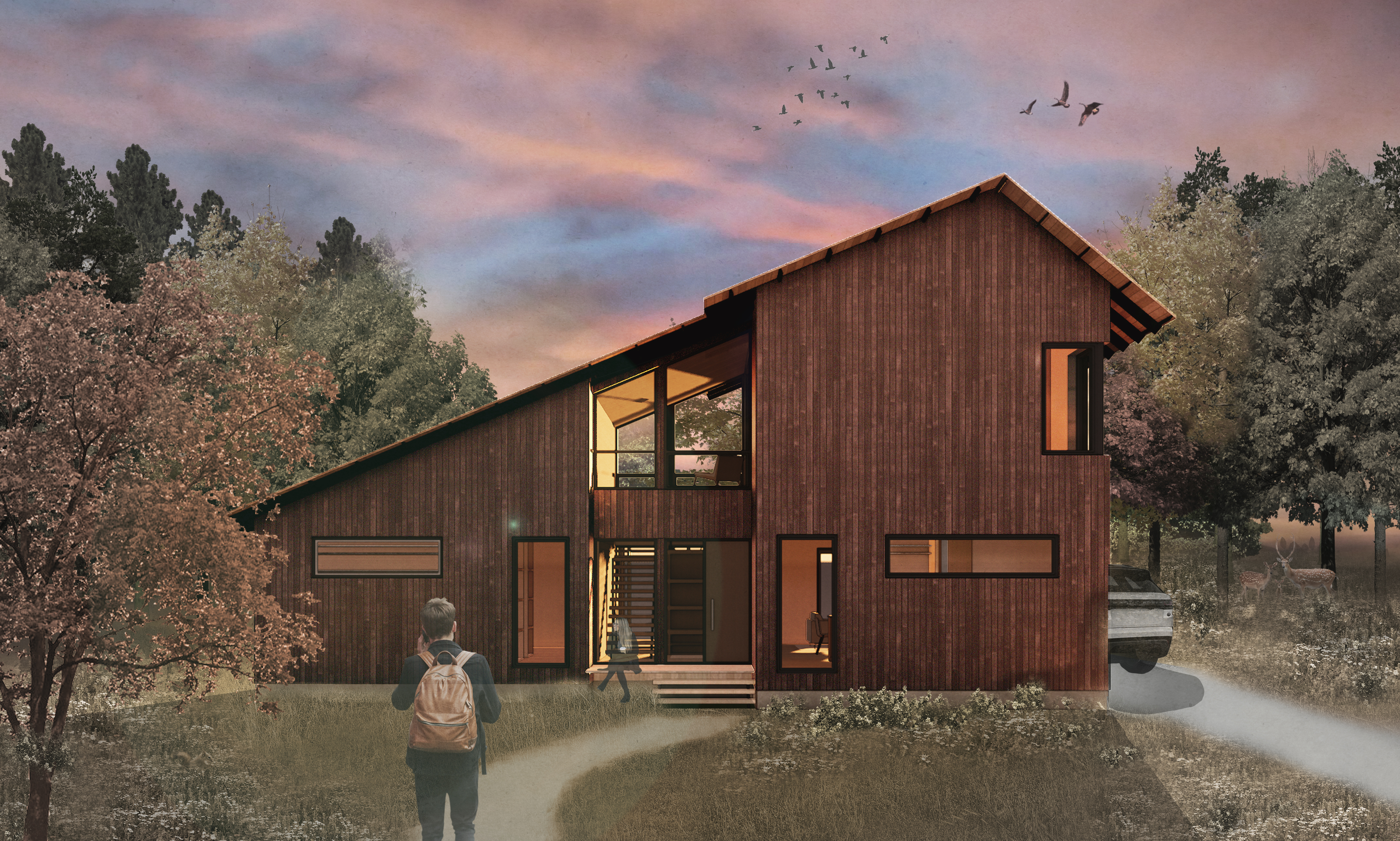 Rendering of timber home with asymmetrical roof.