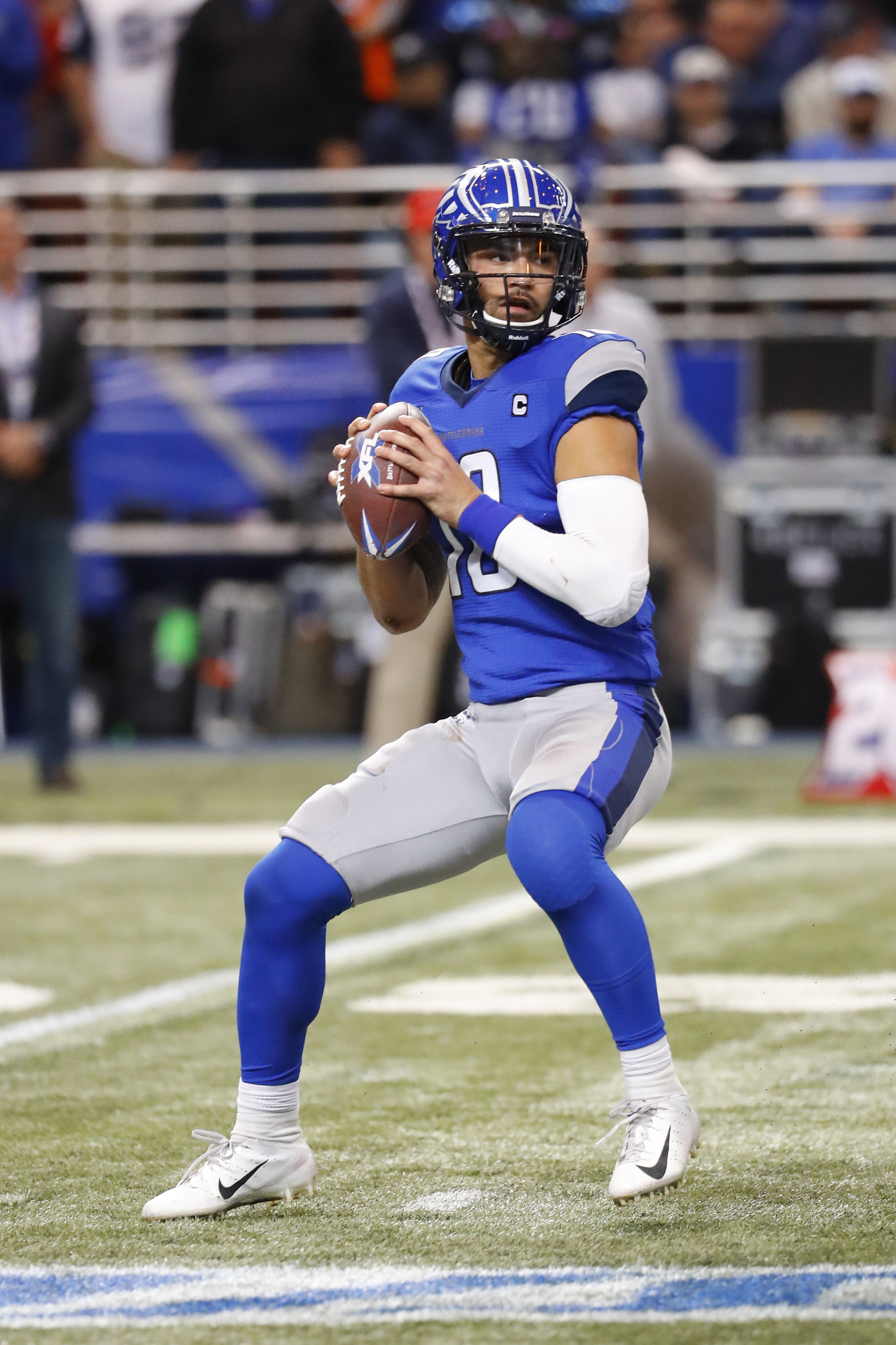 St. Louis Battlehawks quarterback Jordan Ta'Amu drops back for a pass during the second half of an XFL game against the NY Guardians at The Dome at America's Center.
