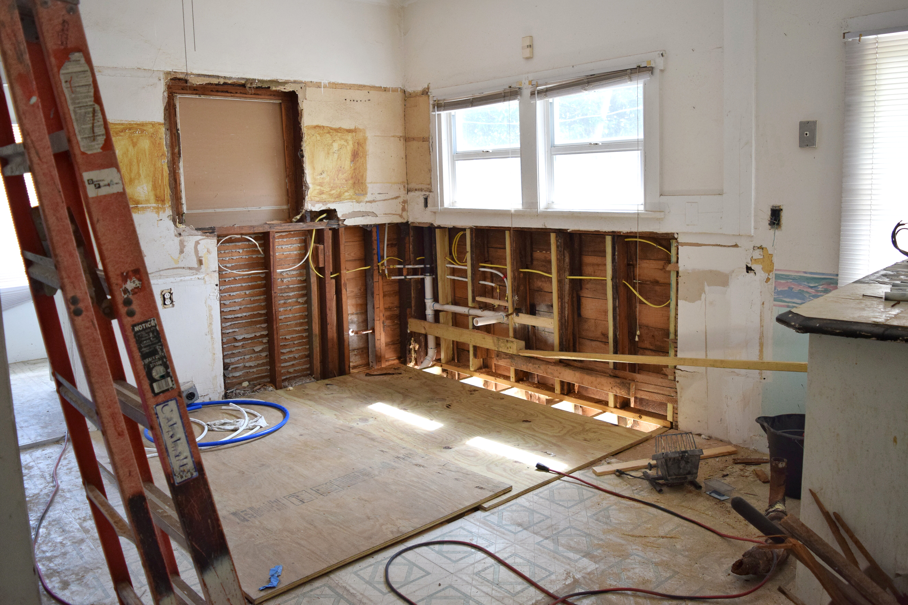 A behind the scenes look, mid-renovation.