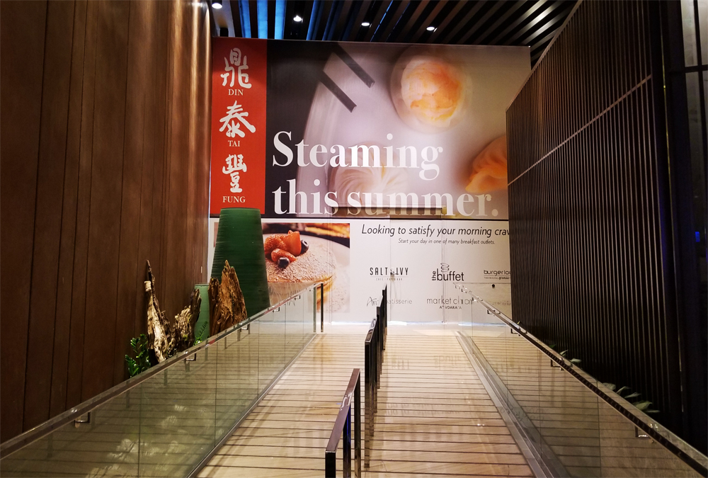 Plywood at Aria promoting the summer arrival of Taiwanese steamed dumplings and noodles restaurant, Din Tai Fung.